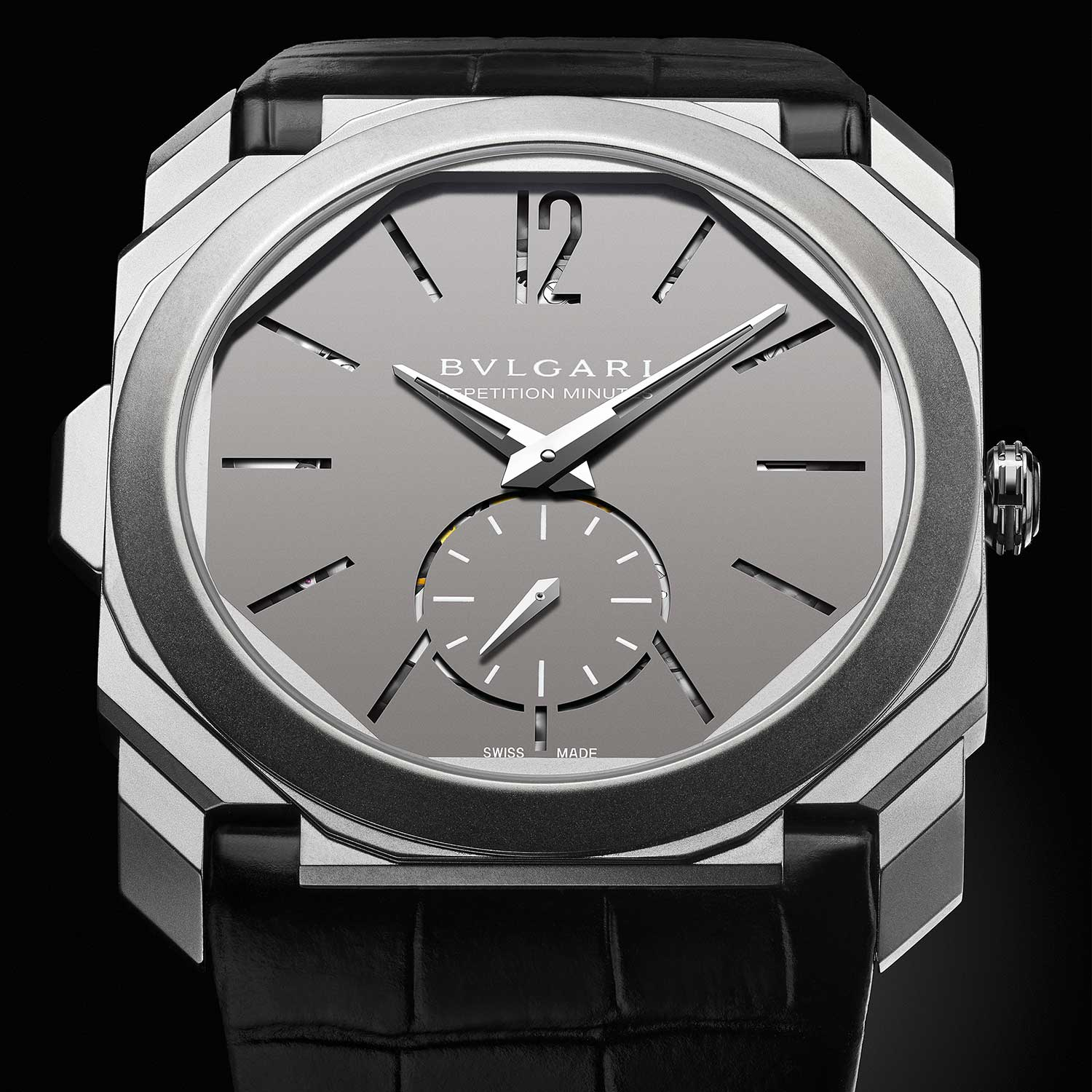 2016: Octo Finissimo Minute Repeater Bvlgari unveils the Octo Finissimo Minute Repeater in a titanium case, featuring the ultra-thin 3.12mm BVL 362 movement. A bold design, featuring cut-out dial markers that enabled the sound to pass through from the back of the movement, thus amplifying the volume of the chimes.