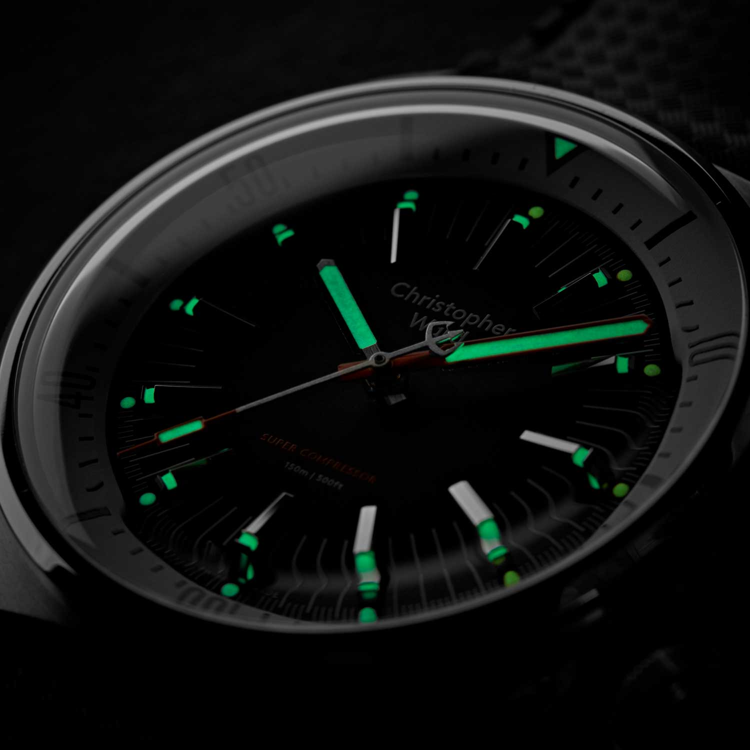 The Christopher Ward C65 showing off its lume capabilities in the dark