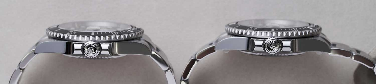 The 2020 ref. 126610 case on the left showing noticeably slighter crown guards when compared with those of the outgoing 2010 ref. 116610's (©Revolution)