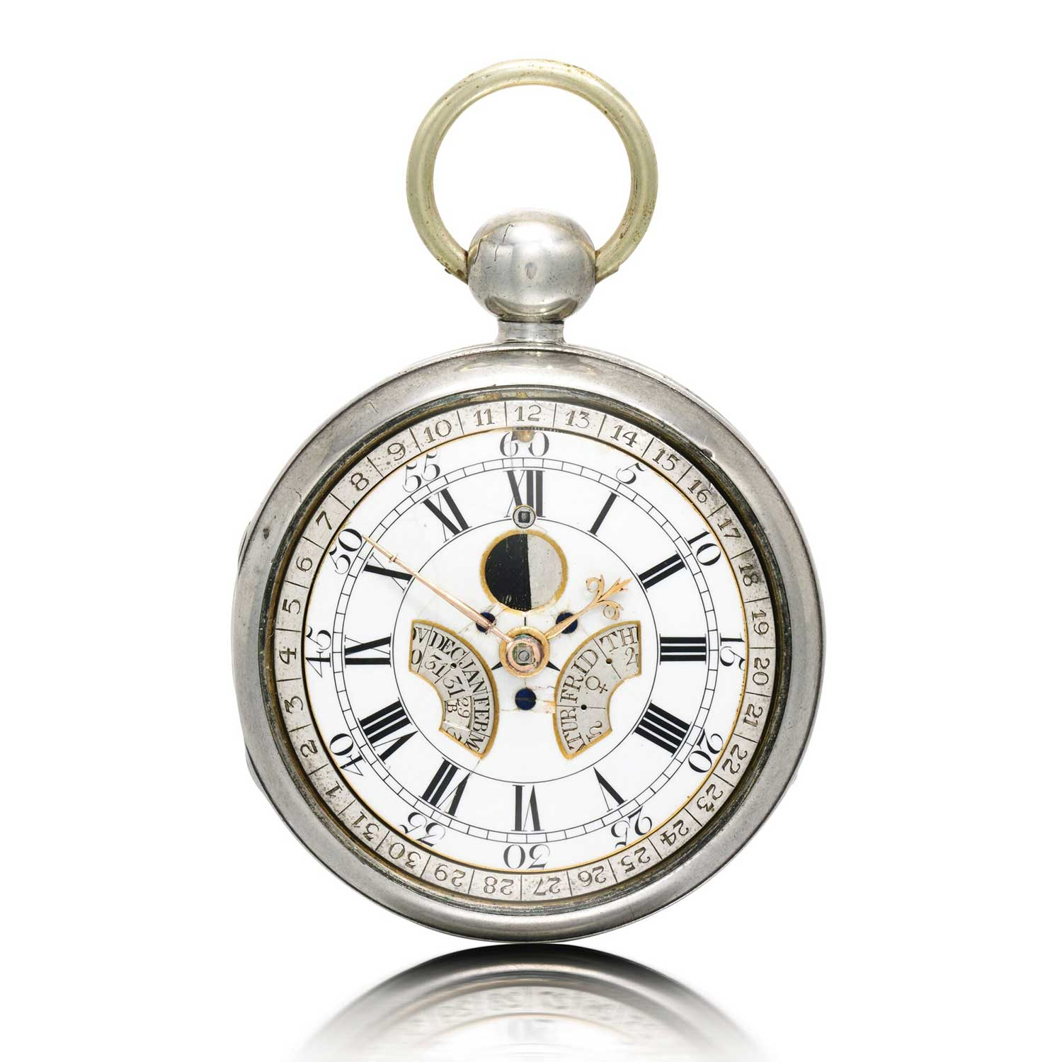 Thomas Mudge Perpetual Calendar pocket watch No. 525 that sold with Sotheby's in 2016 for £62,500; the timepiece considered to be possibly the earliest perpetual calendar exist; seen here in later silver case circa 1762 (Image: sothebys.com)