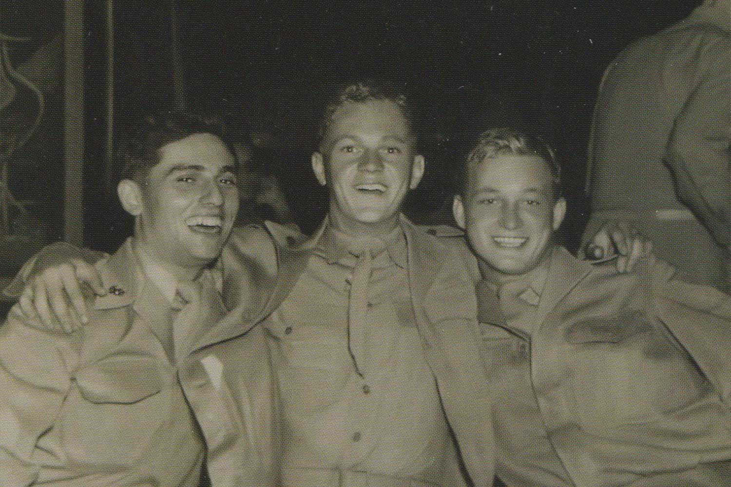 """Steve McQueen [center] shares a laugh with a pair of Marine buddies named Joe and Don upon his July 1947 platoon graduation at Parris Island, South Carolina. McQueen served a three-year stint and often told reporters he was busted down to private seven times to enhance his rebel status. However, his military file proved he was a competent soldier — McQueen ascended in rank rather quickly despite not serving in the Marines during wartime. (Image Credit: Bonham's Auctioneers / Courtesy of Marshall Terrill / appears in """"Steve McQueen: The Life and Legend of a Hollywood Icon"""" [2010] / medium.com)"""