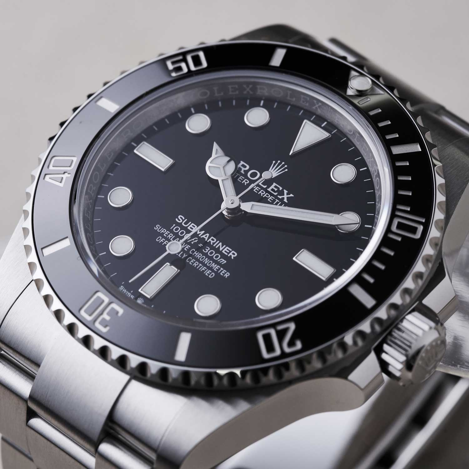 The 2020 no-date Oyster Perpetual Submariner ref. 124060 has a Maxi-style dial with its Chromalight lume contained within applied white gold (©Revolution)