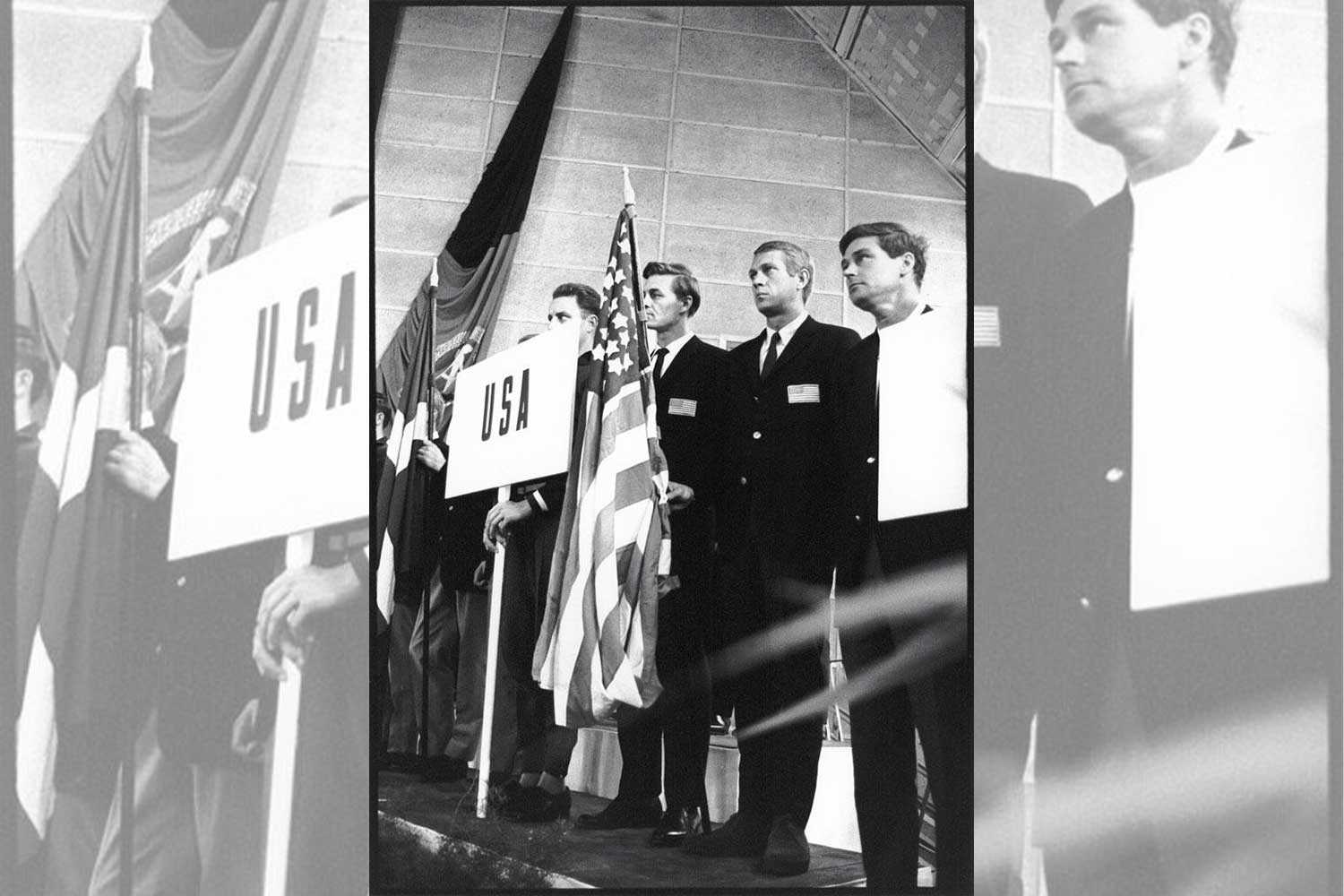 "Steve McQueen bearing the Star-Spangled Banner on behalf of the ""California Boys"" at the 1964 IDST (Image: François Gragnon / speedtracktales.com)"