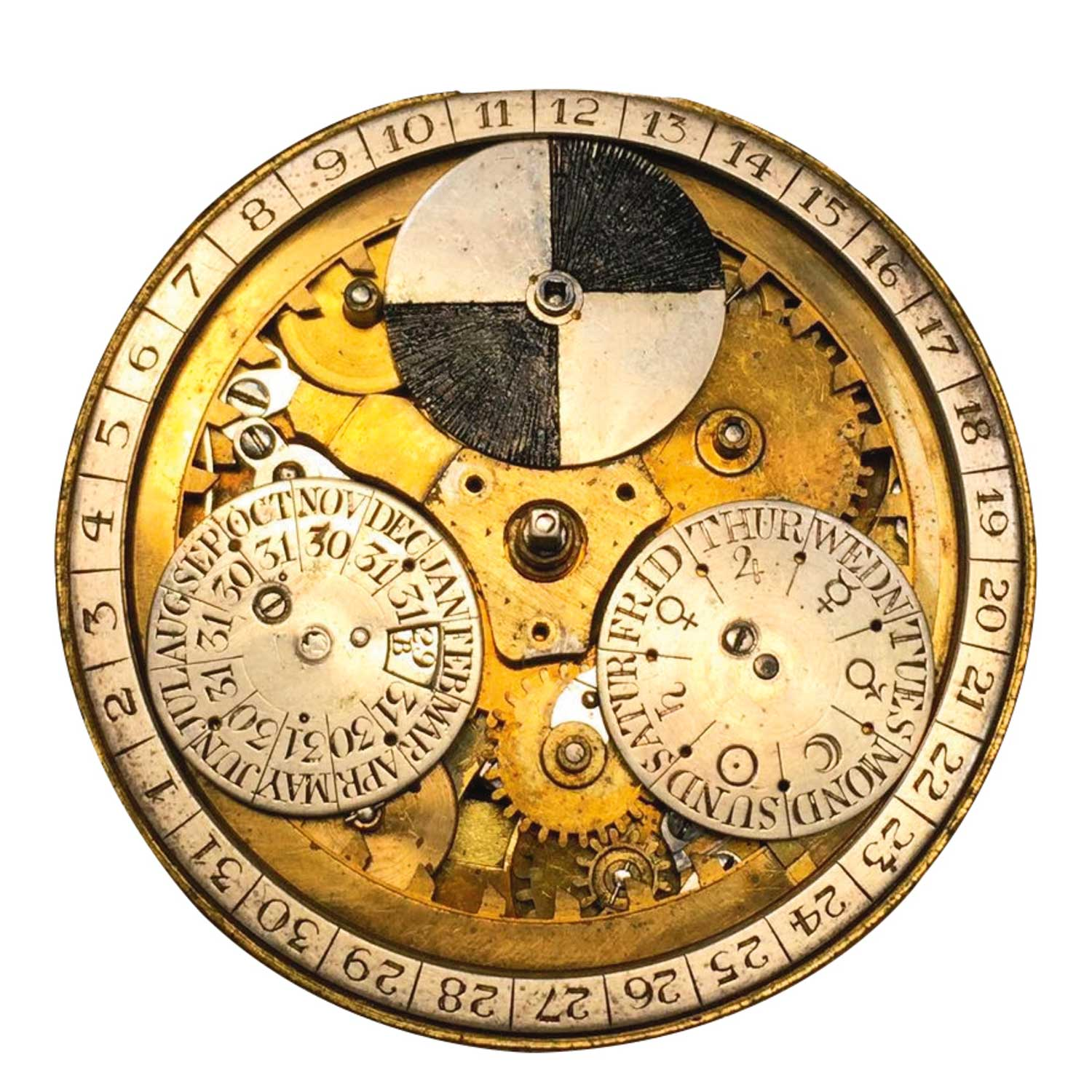 The movement as it is under the dial of the Thomas Mudge Perpetual Calendar pocket watch No. 525 (Image: sothebys.com)