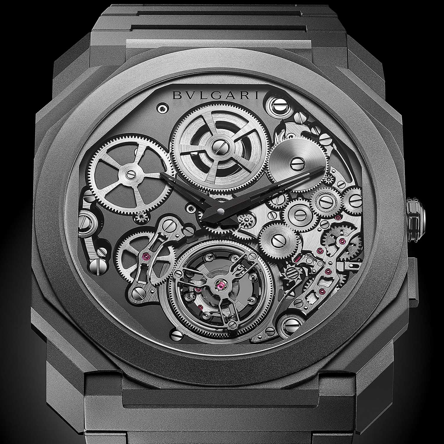 2018: Octo Finissimo Tourbillon Automatic Bvlgari introduces a new breakthrough on the front of extreme slenderness. At just 3.95mm thick, Octo Finissimo Tourbillon Automatic claims a new watch industry record for the fourth time. An automatic version of the tourbillon caliber, the BVL 288, introduces a bold new design for Bvlgari — a peripheral winding rotor, allowing one to view the movement in its entirety with the benefit of automatic winding.