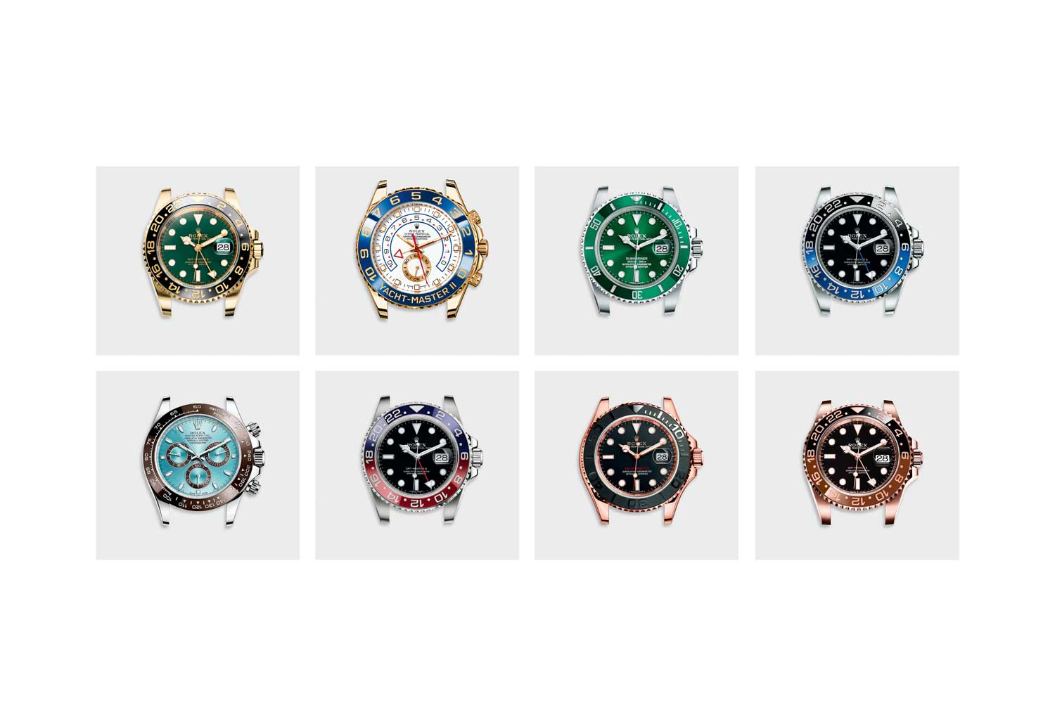 A view of the sheer breadth of colors Rolex is able to achieve using their proprietary method of producing Cerachrome ceramic bezels