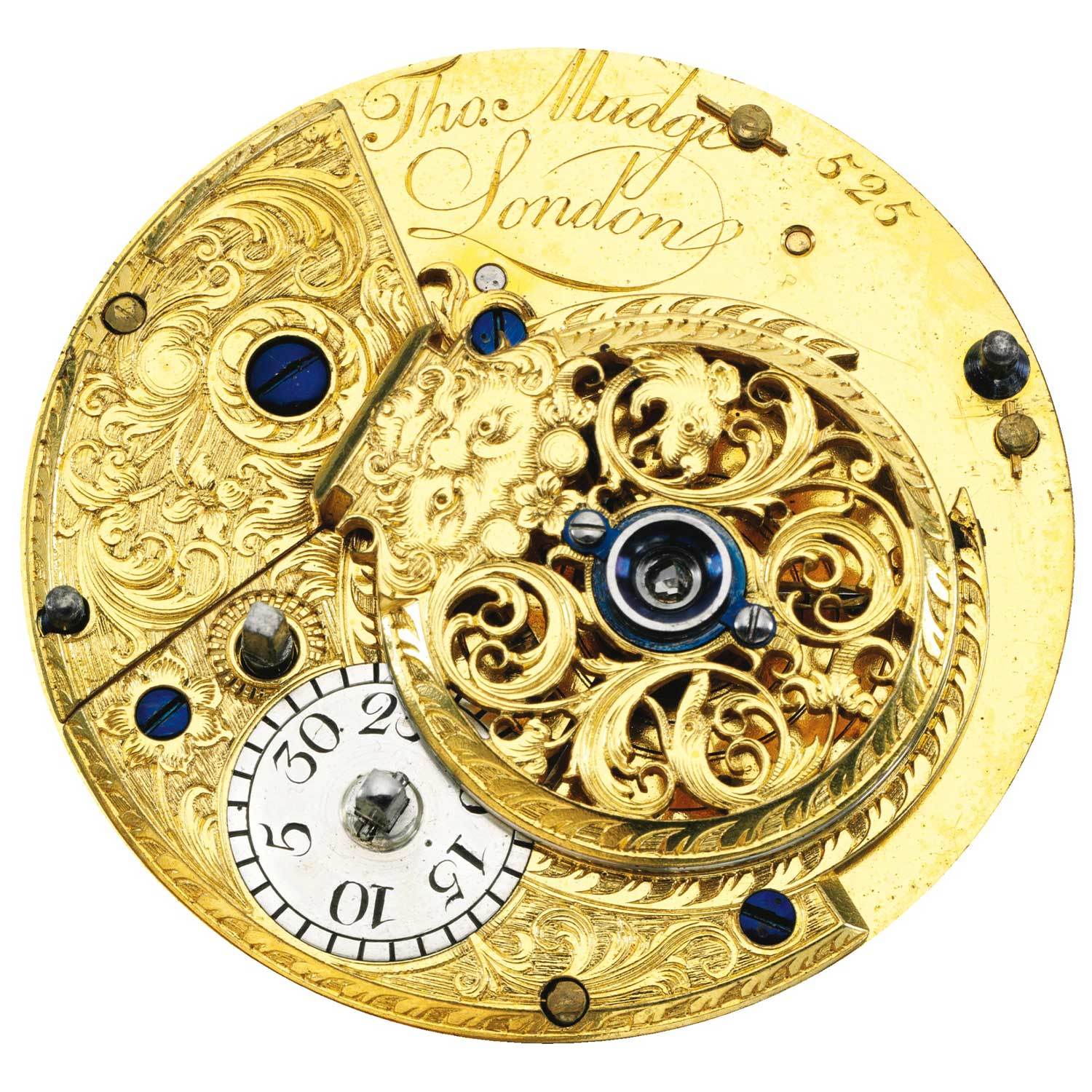 The engraved back of the movement of the Thomas Mudge Perpetual Calendar pocket watch No. 525 (Image: sothebys.com)
