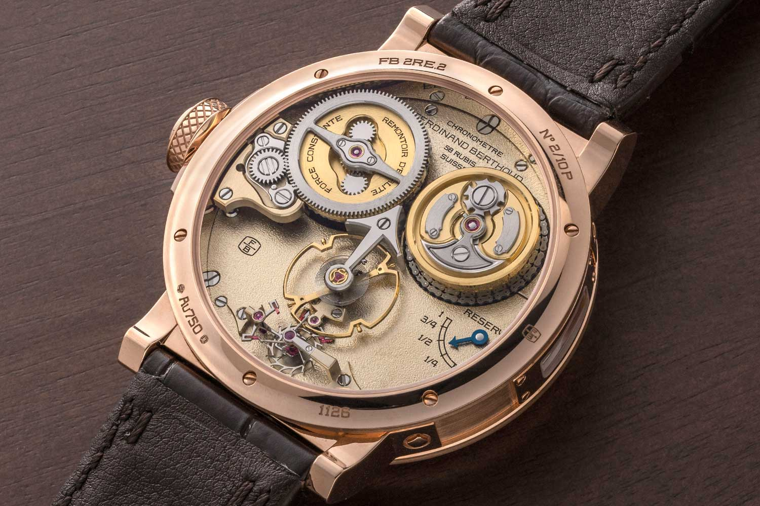 Caseback of the Ferdinand Berthoud Chronomètre FB 2RE in rose gold (ref. FB 2RE.2) (©Revolution)