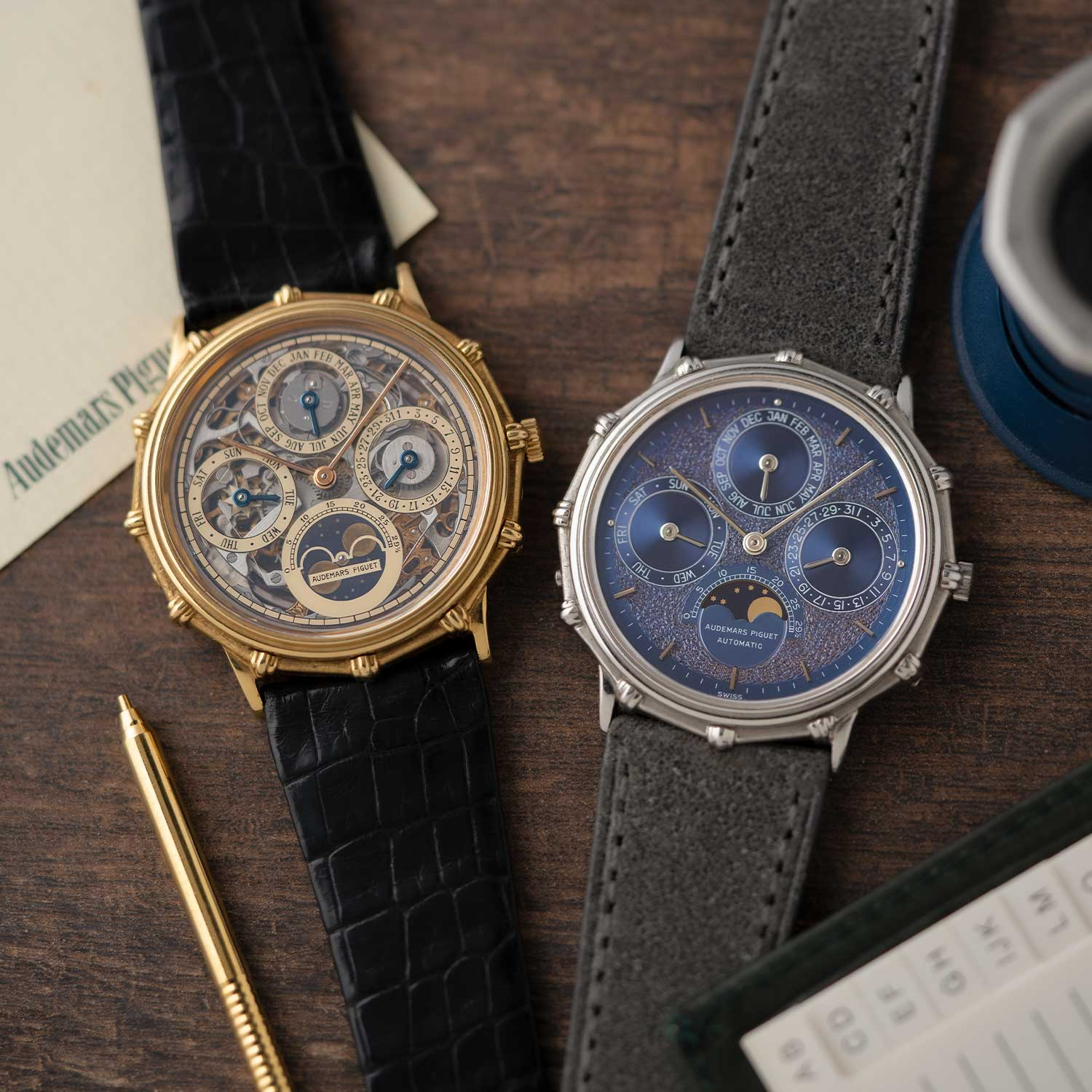 "More special creations derived from the 5548 family, on the left the 25586BA in yellow gold with a skeletonized dial and on the right the 25561PT in platinum with a ""Tuscan"" dial; the watches seen here are presently part of the Pygmalion Gallery's private collection (Image: Photo and watches, property of Pygmalion Gallery)"