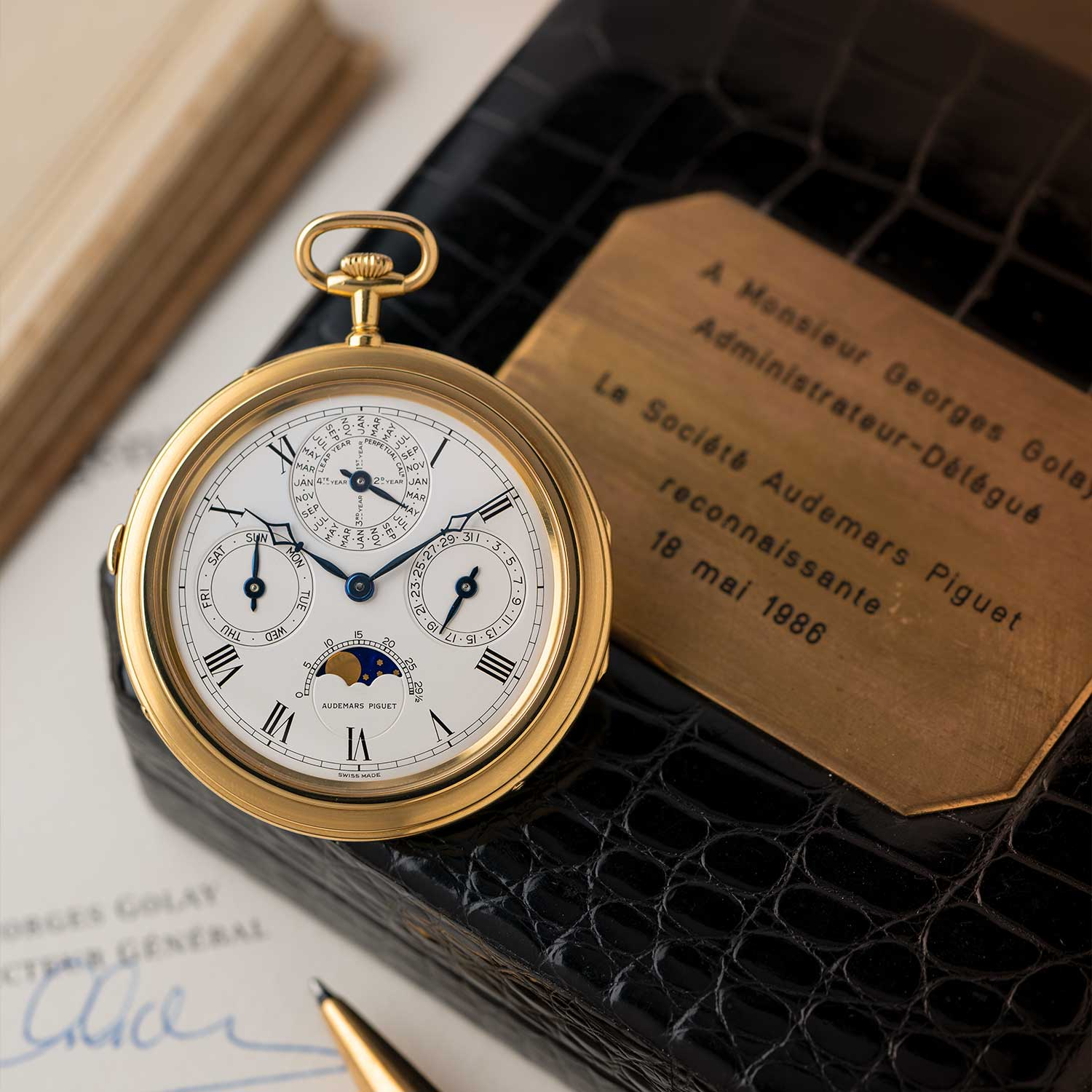 A priceless object of unending beauty, this was the Perpetual Calendar pocket watch that was gifted to Mr Georges Golay in recognition of his 25 years of long service to the brand; the watch seen here is presently part of the Pygmalion Gallery's private collection (Image: Photo and watch, property of Pygmalion Gallery)