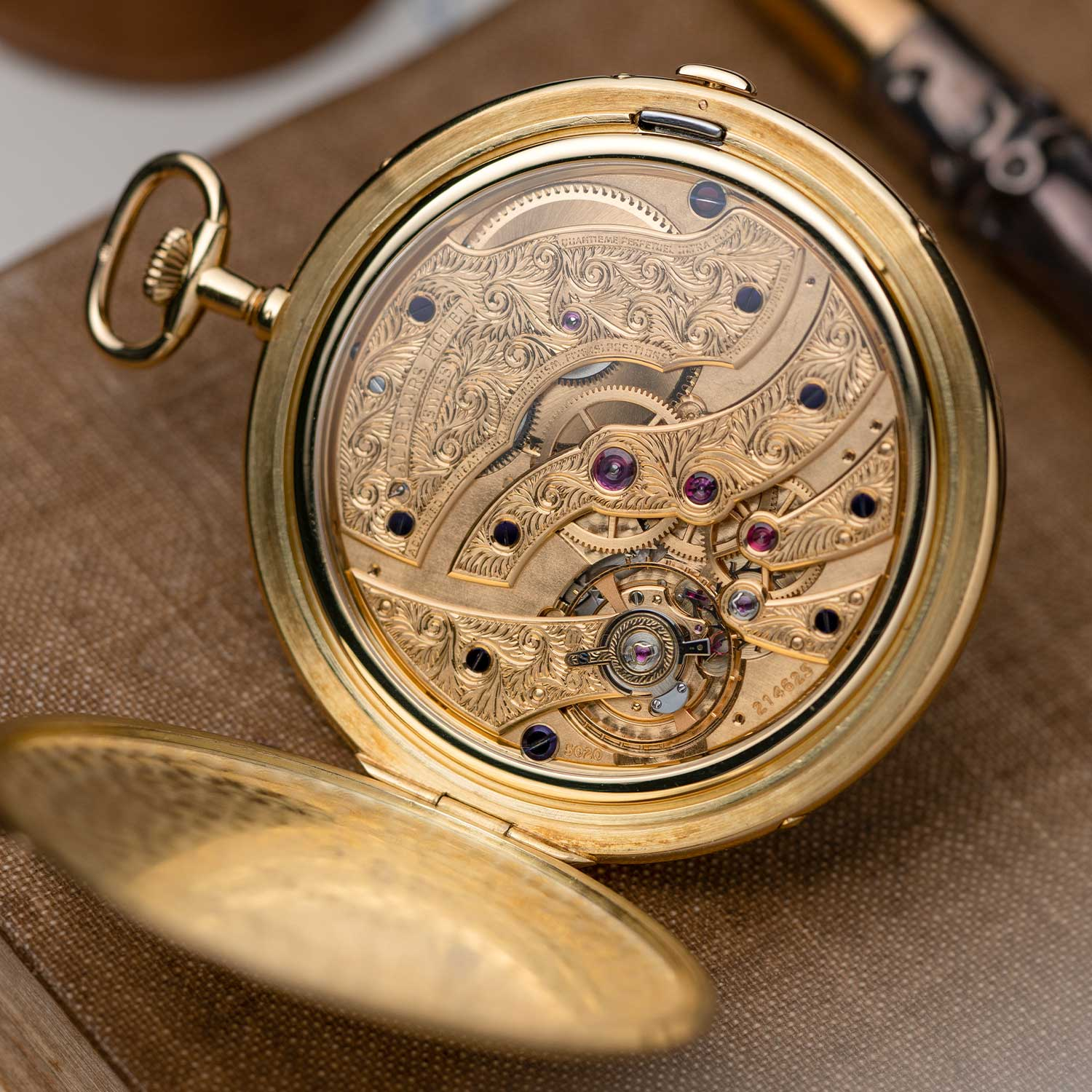 The superbly engraved bridges seen through the display caseback of the Perpetual Calendar pocket watch that was gifted to Mr Georges Golay in recognition of his 25 years of long service to the brand; the watch seen here is presently part of the Pygmalion Gallery's private collection (Image: Photo and watch, property of Pygmalion Gallery)