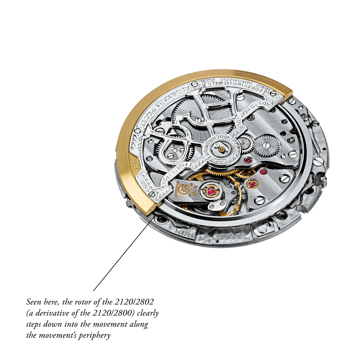 Seen here, the rotor of the 2120/2802 (a derivative of the 2120/2800) clearly steps down into the movement along the movement's periphery