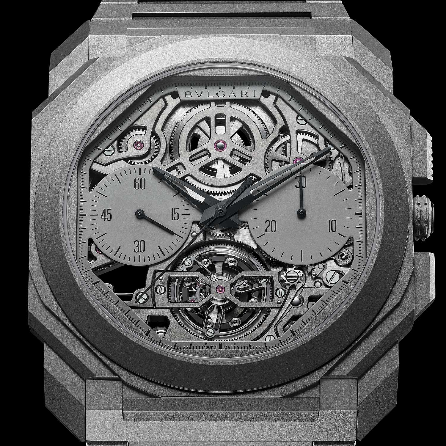2020: Octo Finissimo Tourbillon Chronograph Skeleton Automatic At just 3.50mm thick, the new Octo Finissimo Tourbillon Chronograph Automatic movement claims a new watch industry record for the sixth time. The watch features Bvlgari's record breaking chronograph, now in a two-counter display, as well as a tourbillon at six o'clock. The dial is skeletonised to fully show the complexity of the BVL 388 caliber from the front.