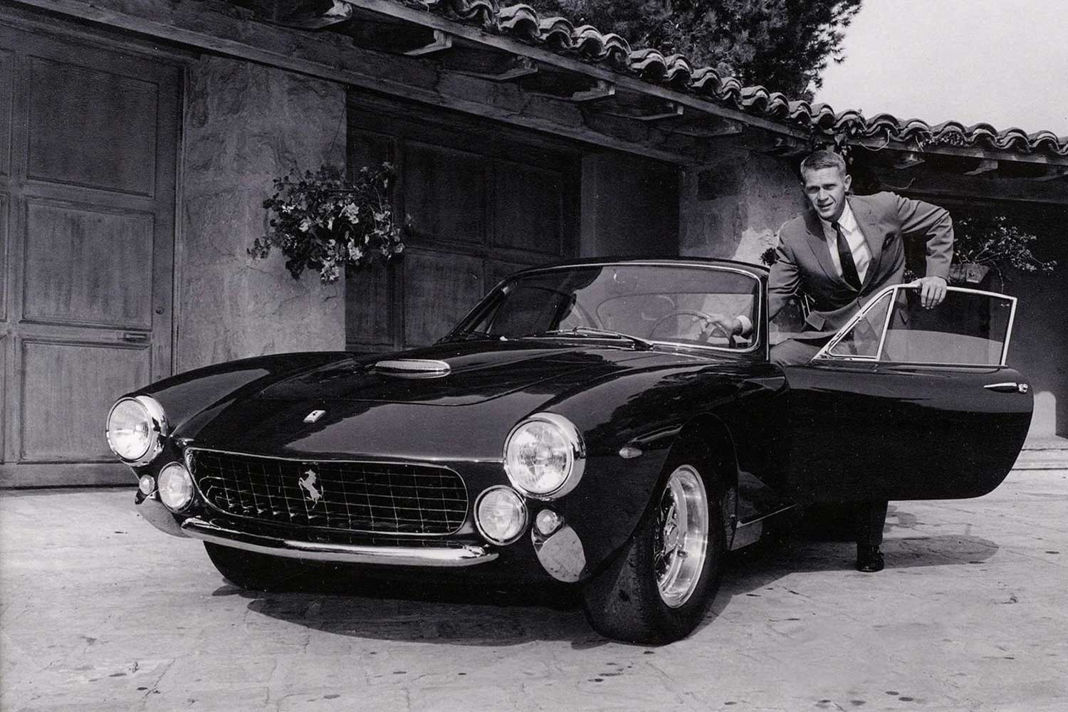 Steve McQueen with his 1963 Ferrari 250 GT Berlinetta Lusso, chassis number 4891, a gift from his first wife, Neile Adams, on his 34th birthday (Image: gq-magazine.co.uk)