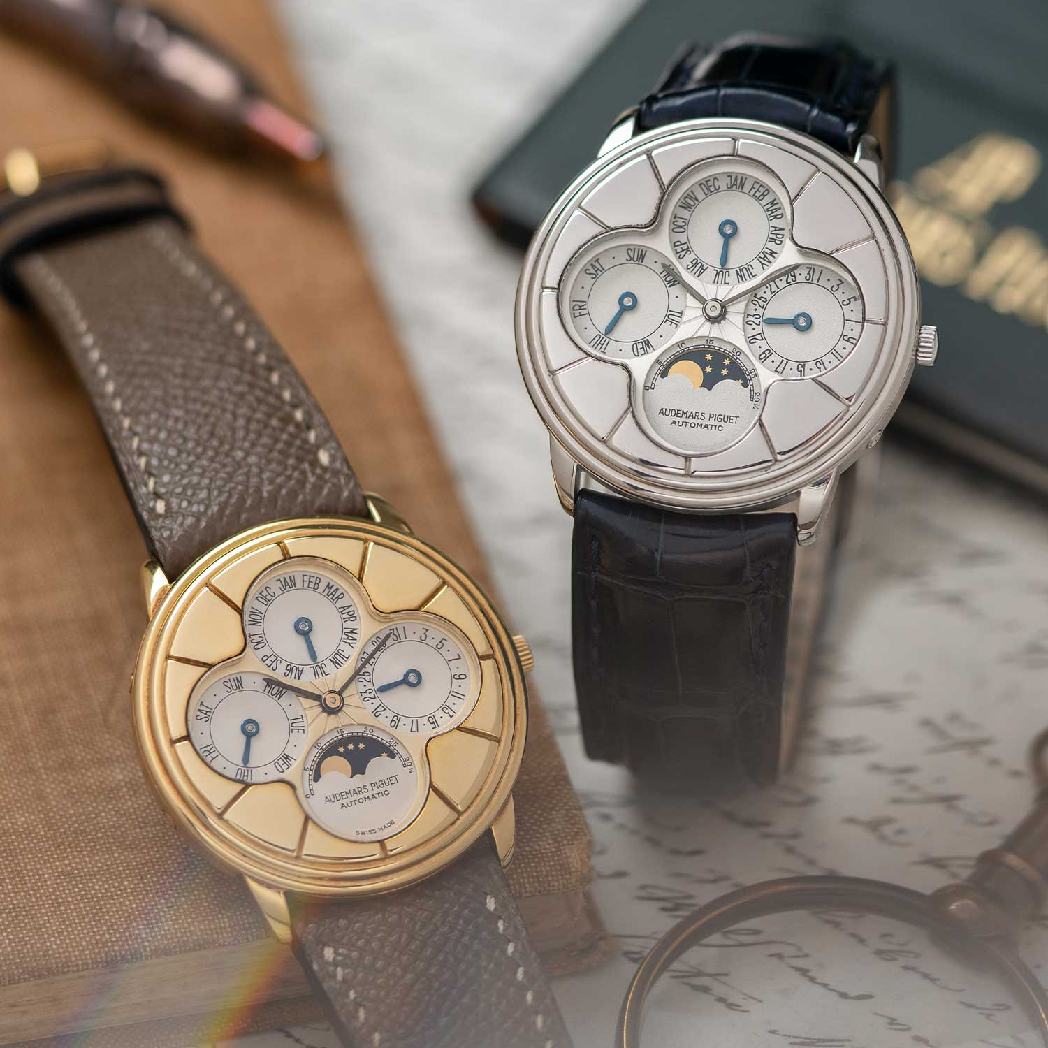 "The ""Clover"" Perpetual Calendars ref. 25681BA on the left in yellow gold and on the right in and the ref. 25681PT in platinum on the right; the watches seen here are presently part of the Pygmalion Gallery's private collection (Image: Photo and watches, property of Pygmalion Gallery)"