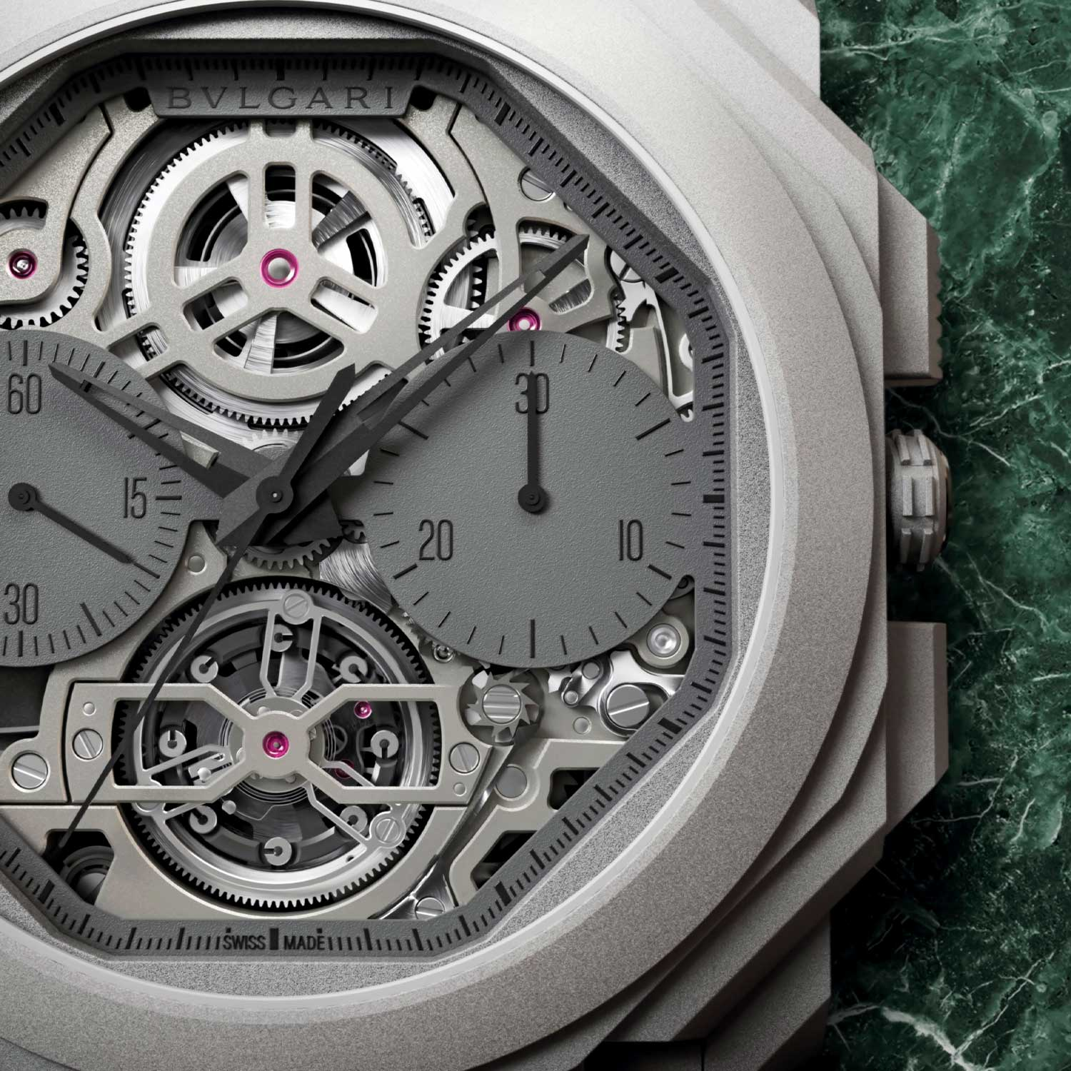 The dial of the Octo Finissimo Tourbillon Chronograph Skeleton Automatic is skeletonised to fully show the complexity of the BVL 388 caliber from the front.