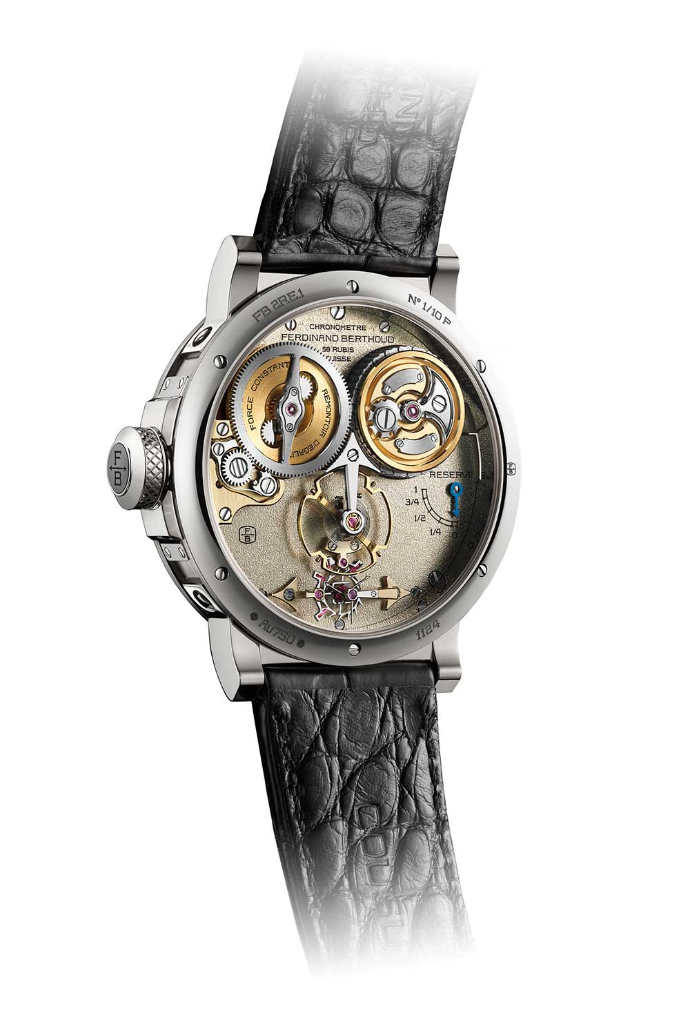 Caseback of the Ferdinand Berthoud Chronomètre FB 2RE in white gold ref. FB 2RE.1