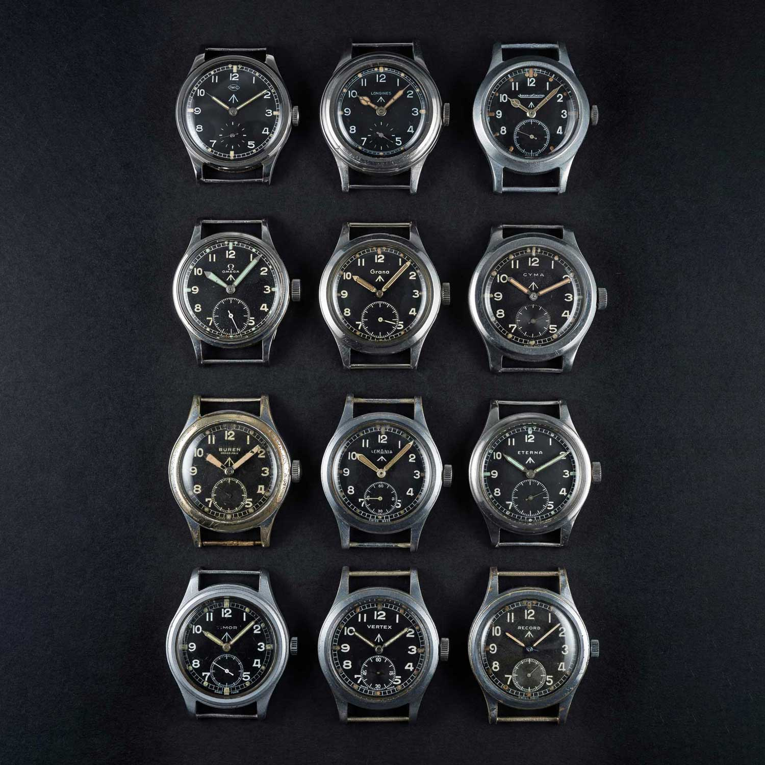 "The complete set of the ""Dirty Dozen"" watches created by the 12 watch companies who were tasked by the UK Ministry of Defence (Image © Watches of Knightsbridge)"