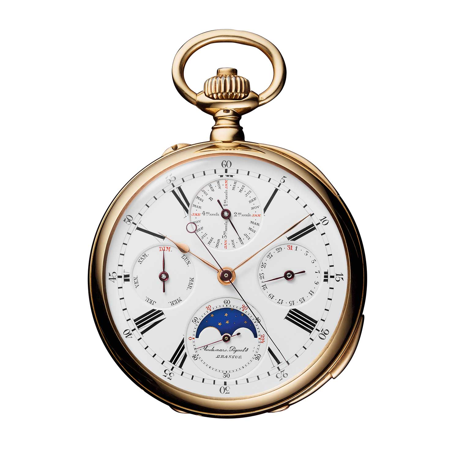 Jules Louis Audemars' school watch was completed in its first incarnation prior to 1875, and transformed in the workshops over the following two decades. The complicated 18-carat pink gold pocket-watch masterpiece combined a perpetual calendar with a quarter repeating mechanism, and included the rarely seen independent deadbeat second function.