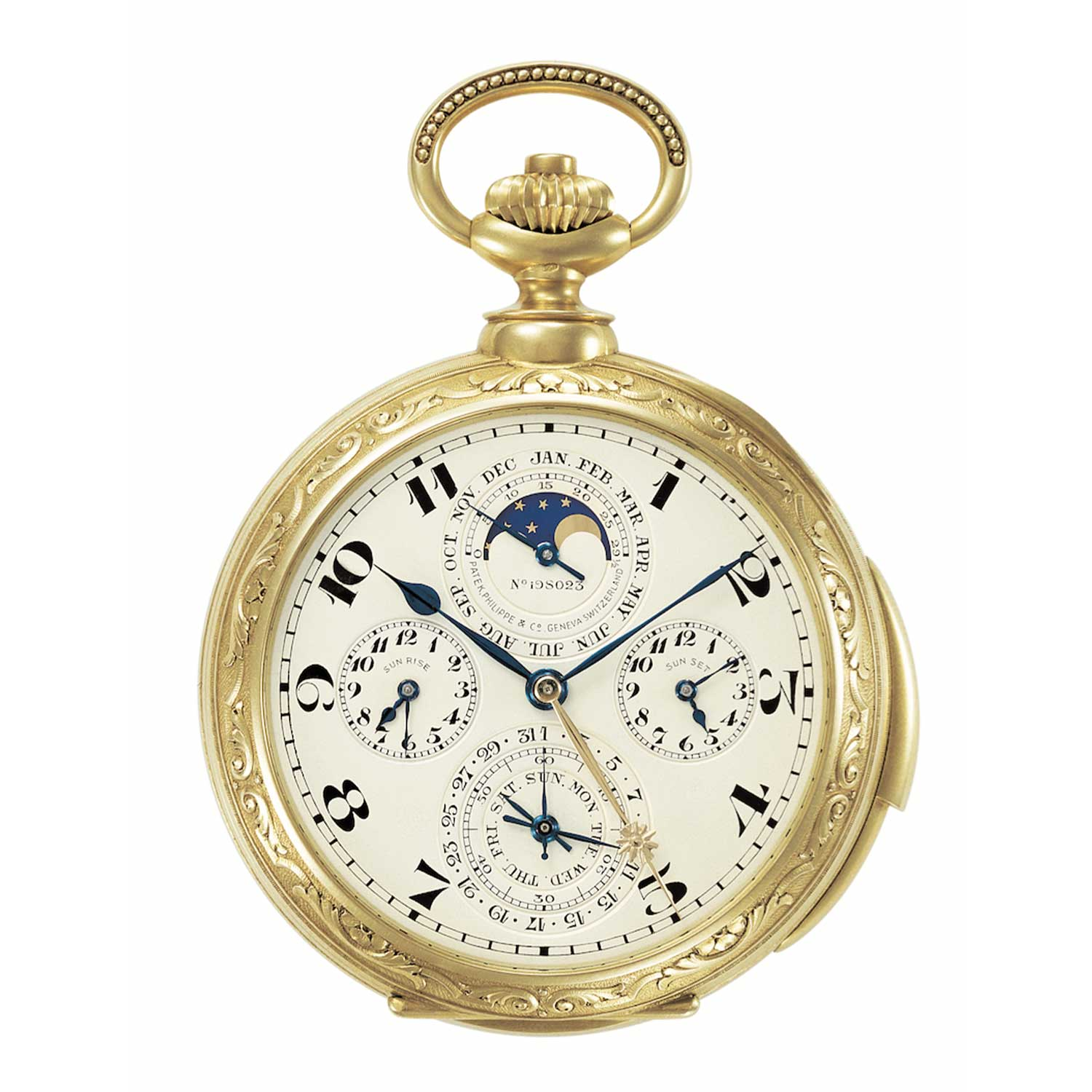 Note that this legendary Patek Philippe pocket watch made for James Ward does not feature a leap-year indicator on the dial side for its perpetual calendar. Watches like this were sent to watchmakers to remove the dial to set them.