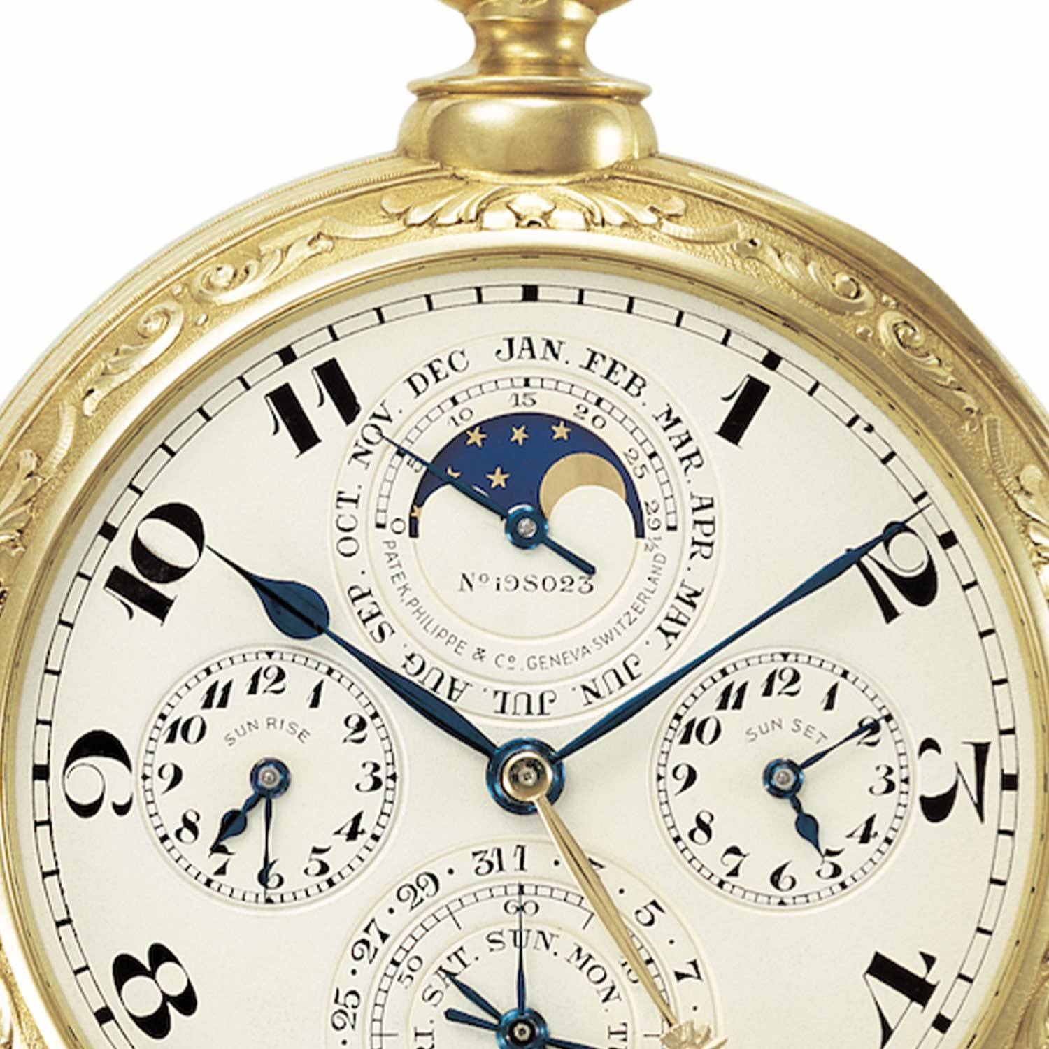 A closer look at the month counter and moon phase display on the Patek Philippe pocket watch made for James Ward