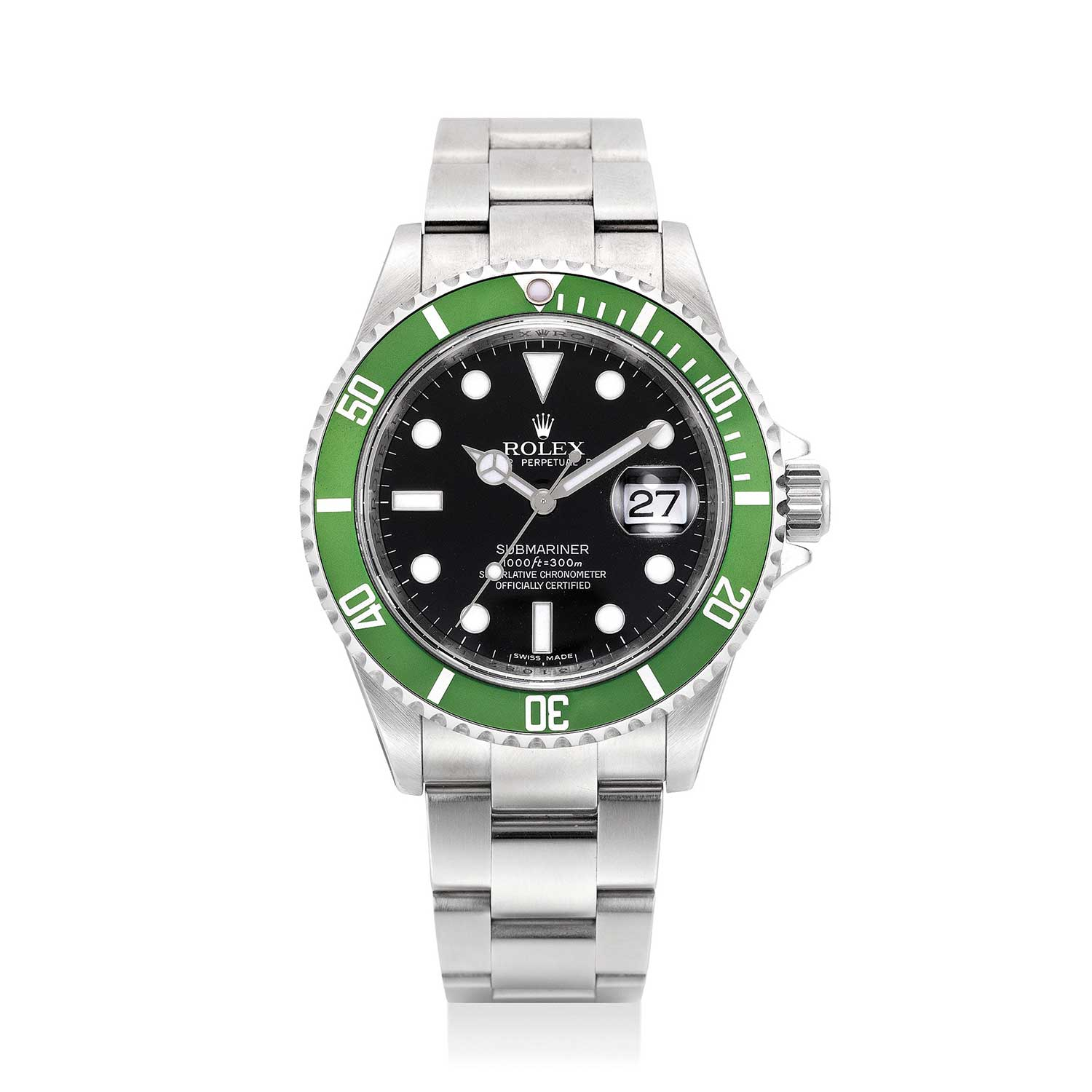"The ref. 16610LV was released to celebrate 50 years of the Submariner in 2003 and was soon nicknamed ""Kermit"" by the collecting community (Image: Phillips.com)"