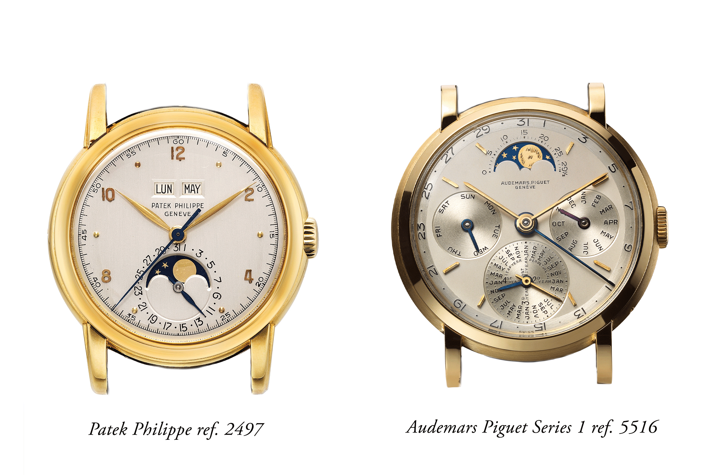 The Patek 2497 can be viewed as minimalist, even reductionist, while the Audemars 5516 is just the opposite, redolent with information. The AP is bold in styling while the Patek is restrained.