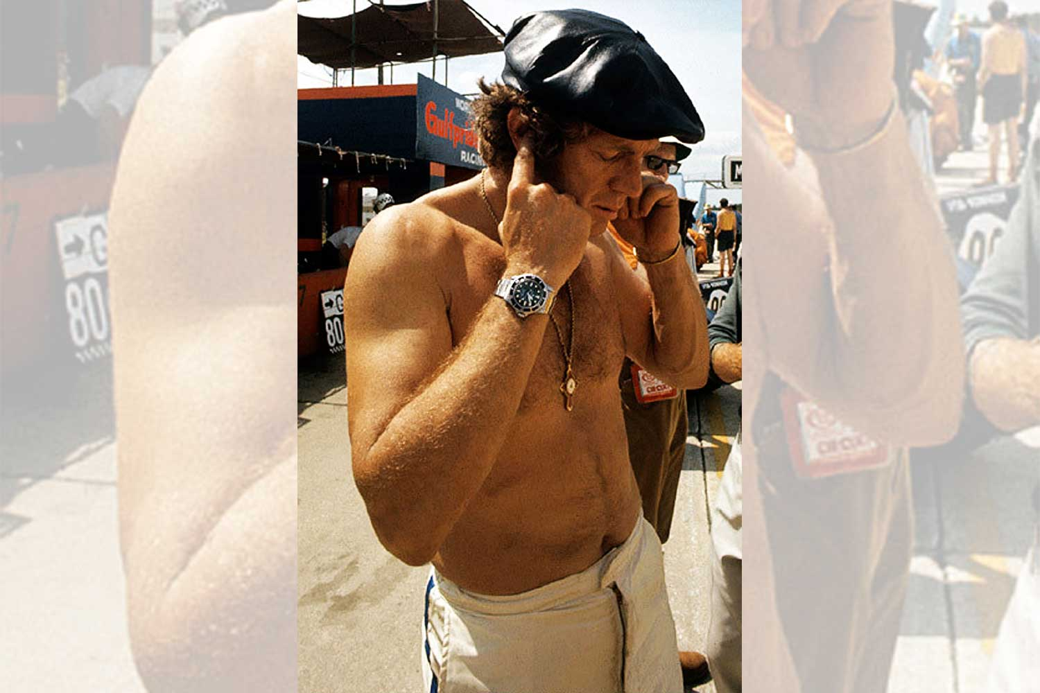 A shirtless Steve McQueen on the track at Sebring 1970 with the Submariner 5512 on his wrist (Image: rolexmagazine.com)