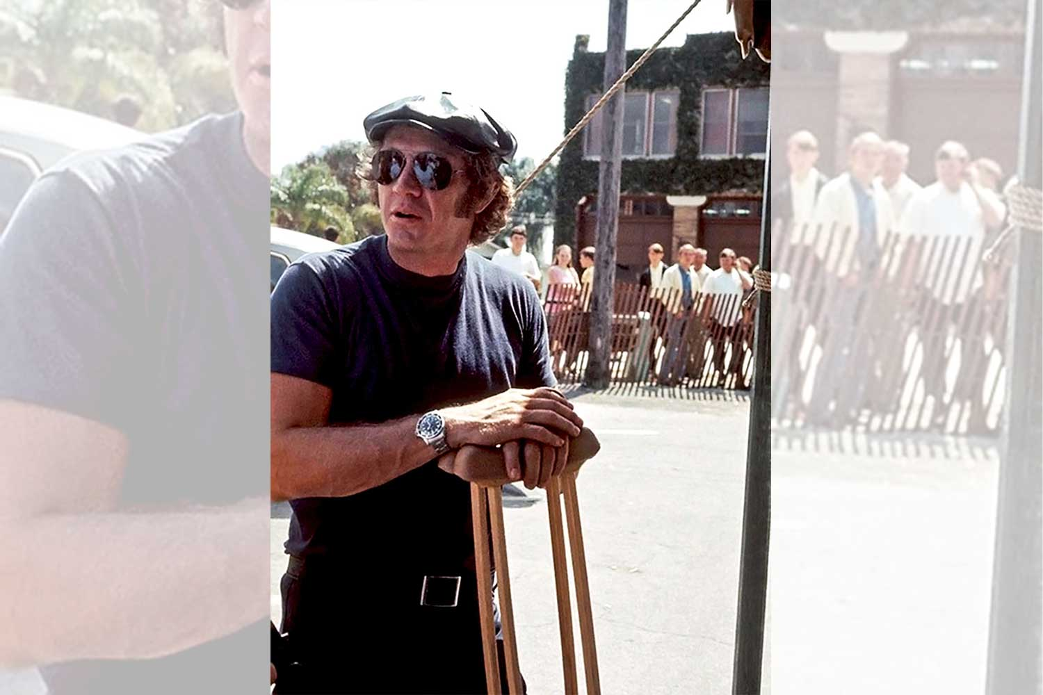 Steve McQueen on crutches at the Sebring 1970 after a an injury from a motorcycle accident two weeks earlier; the watch on his wrist, his Submariner 5512 (Image: rolexmagazine.com)