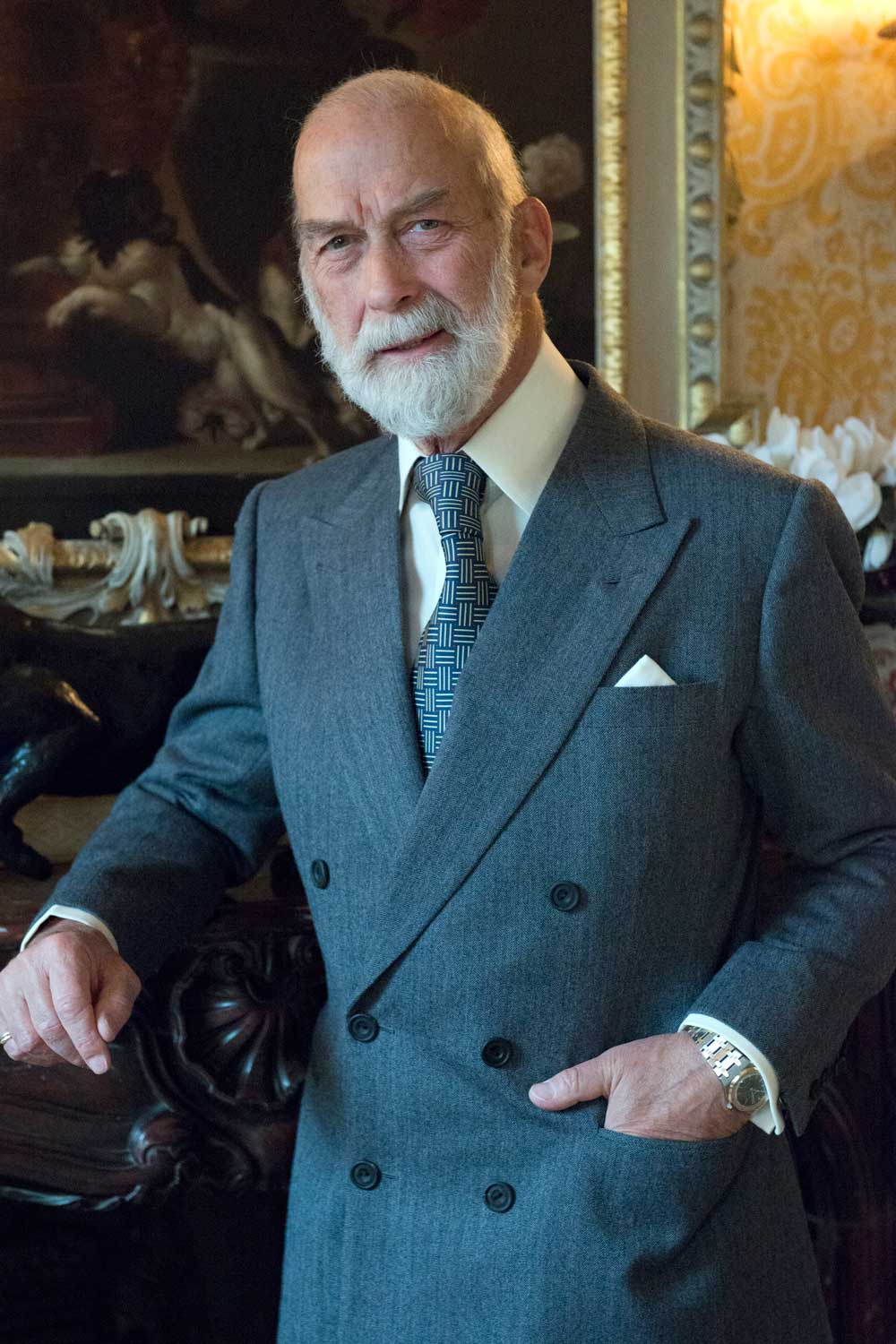 HRH Prince Michael of Kent and his bi-metal Audemars Piguet Royal Oak; photograph taken in Kensington Palace London, December 2014 (Wikimedia Commons / Allan Warren)