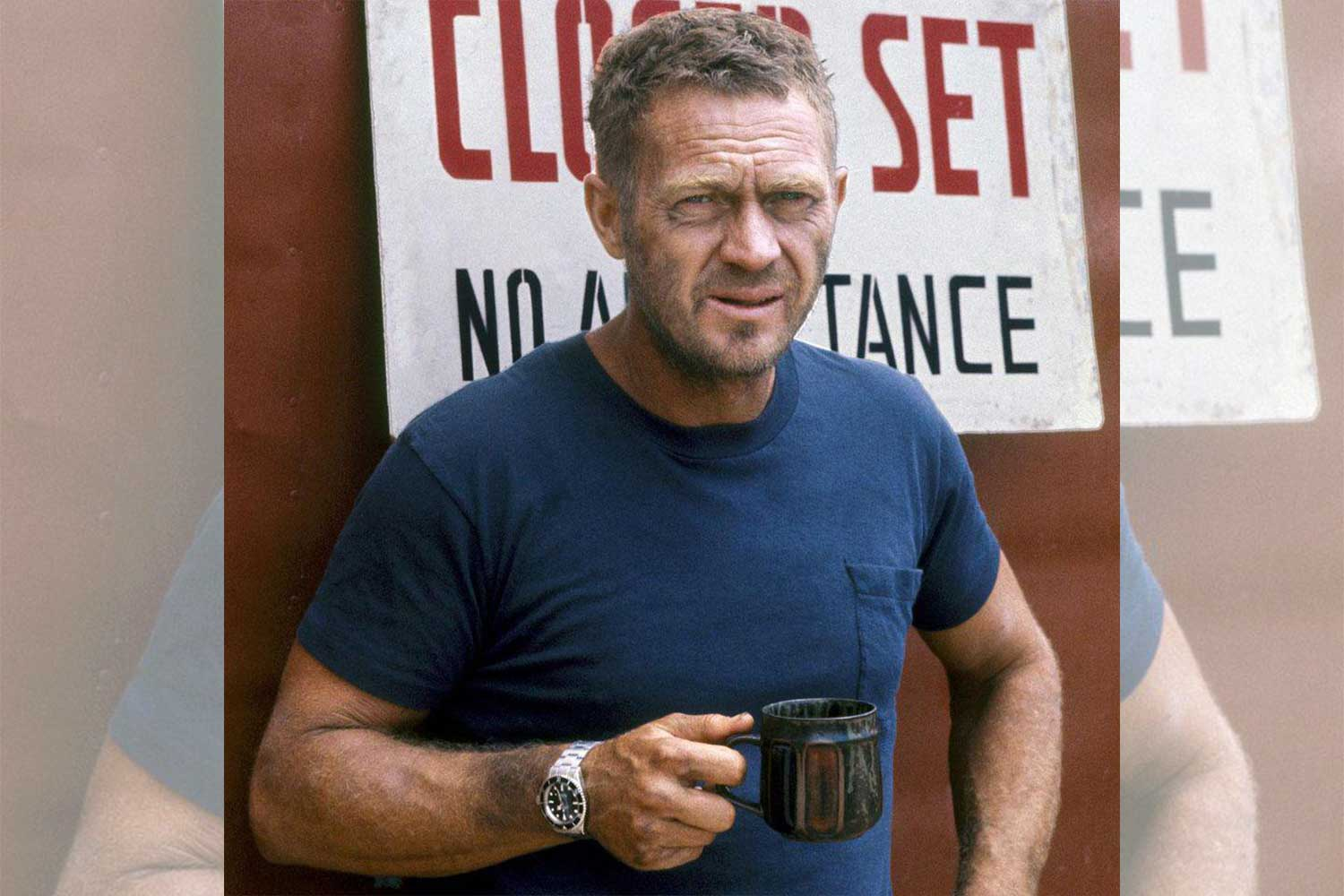 McQueen on the set of 'Papillon,' wearing his Rolex Submariner ref. 5512 (Image: Ron Galella)