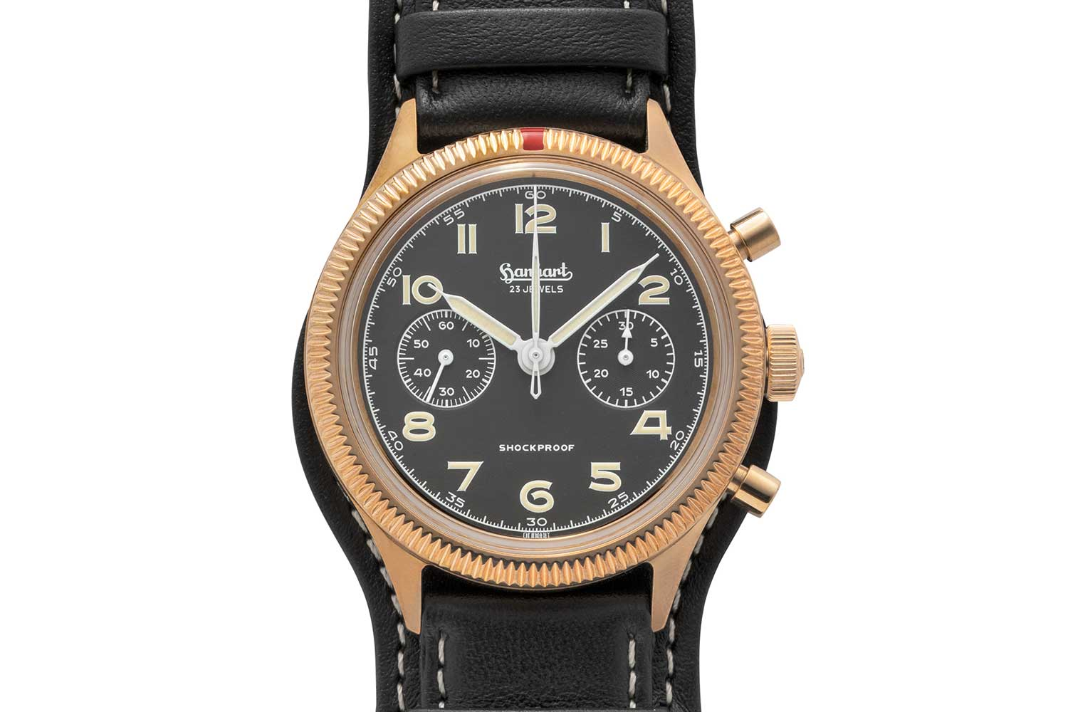 Front view of the Hanhart x The Rake & Revolution Limited Edition Bronze 417 Chronograph (©Revolution)