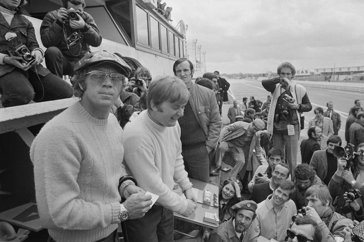 Steve McQueen at the Le Mans trials, France, 12th April 1970. He was banned from taking part in the race for insurance reasons. On his wrist, is of course the Rolex Submariner (Photo by Reg Lancaster/Daily Express/Getty Images)