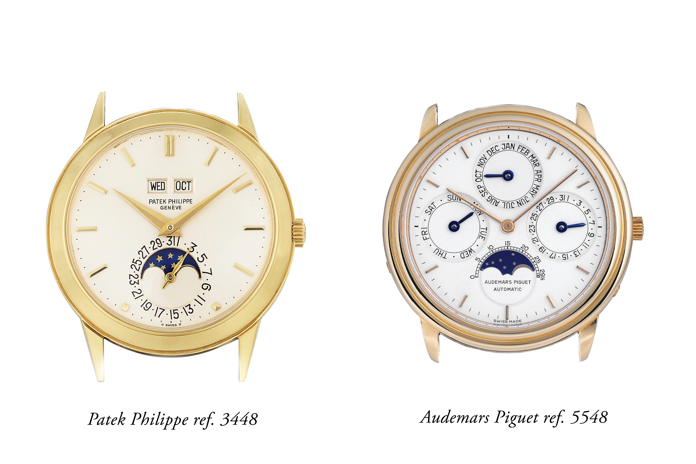 The Patek 3448 was 37mm in diameter but a full 11mm in thickness. The 5548 would be 36mm in diameter (up to 37.5mm in some executions) but measure only 7mm in thickness, which was a huge difference from the 3448.
