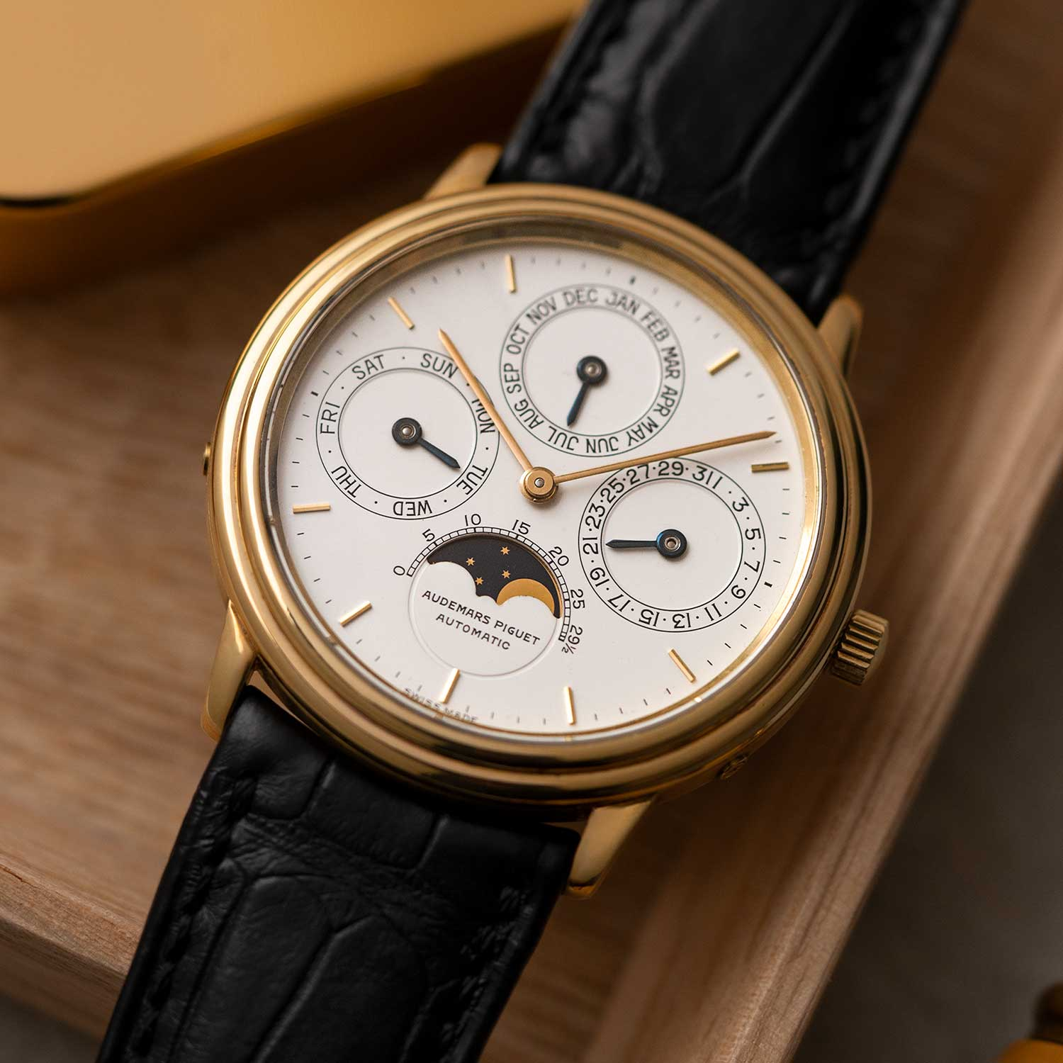 The Audemars Piguet Perpetual Calendar ref. 5548 was unveiled in the midst of the quartz maelstrom. It is clear that Dimier and the trio of Rochat, Golay and Berney wanted their watch to be a statement of what mechanical watchmaking was capable of. Here in a case the size of its quartz competition was a mechanical masterpiece that would never age, become obsolete or require a battery change, capable of telling all calendar information in perpetuity.; the watch seen here is presently the property of the Pygmalion Gallery's private collection (Image: Photo and watch, property of Pygmalion Gallery)
