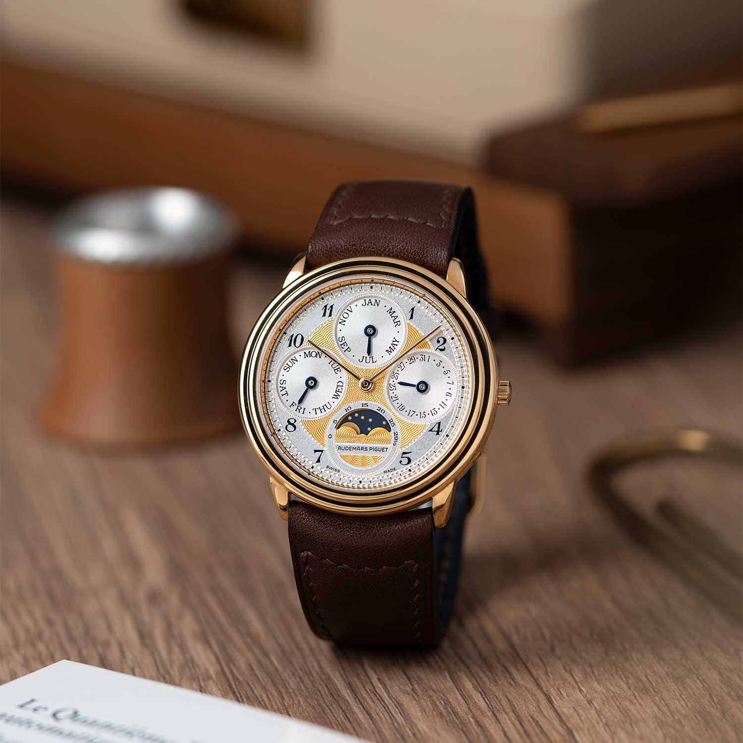 Perpetual calendar with an engine-turned dial ref. 25657BA; the watch seen here is presently part of the Pygmalion Gallery's private collection (Image: Photo and watch, property of Pygmalion Gallery)