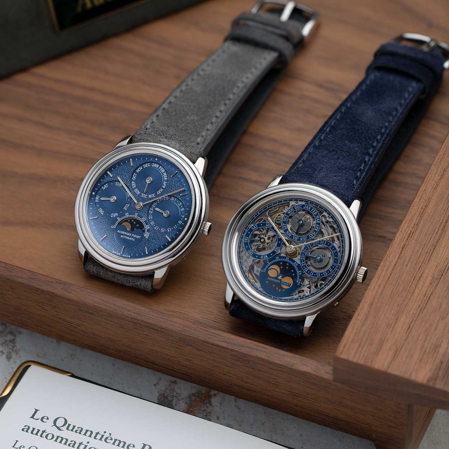 """Tom's ref. 25657PT """"Tuscan"""" dial seen on the left and, also his, the ref. 5558PT """"Skeleton"""" dial to the right; some grade A examples of creative expressions of perpetual calendar watches that were birthed from the creation of the 5548 (Image: Photo and watches, property of Pygmalion Gallery)"""