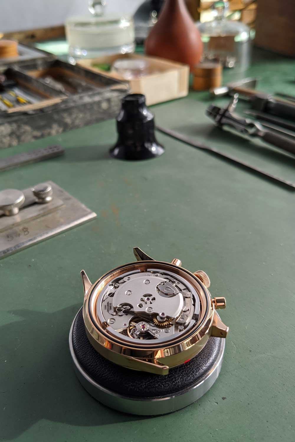 Seen here without the solid caseback installed is the manual-wound Sellita SW 510, an industrial powerhouse movement, which powers the Hanhart x The Rake & Revolution Limited Edition Bronze 417 Chronograph (Image: Hanhart.com)