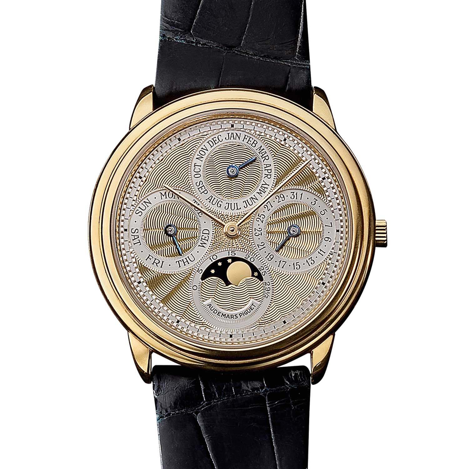 Perpetual calendar with an engine-turned dial. Model 25657BA (1,821 examples, of which 1,309 in yellow gold). Movement No 373937, case No D7678. Calibre 2120/2800. Movement made in 1992, watch sold in 1993. Audemars Piguet Heritage Collection, Inv. 1589.