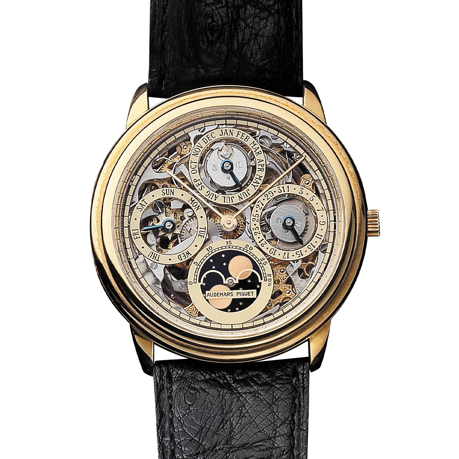 Openworked perpetual calendar. Model 25668BA (205 examples, of which 94 in yellow gold). Movement No 294476, case No C51512. Calibre 2120/2800. Movement made in 1988, watch sold in 1989. Audemars Piguet Heritage Collection, Inv. 392.