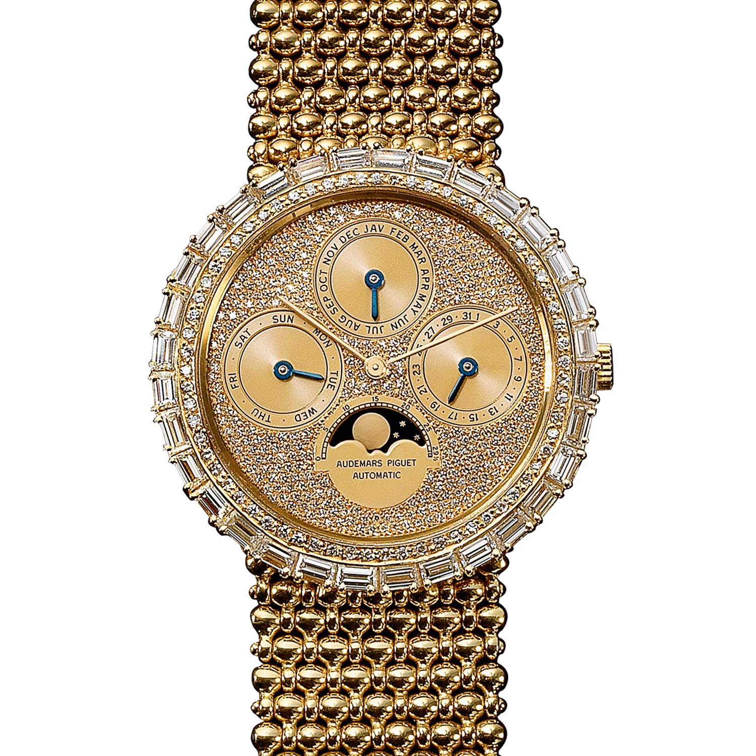 Perpetual calendar with a diamond-set dial. Model 5579BA (19 examples, of which 11 in yellow gold). Movement No 273833, case No C7027. Calibre 2120/2800. Movement made in1984, watch sold in 1985. Audemars Piguet Heritage Collection, Inv. 1377.