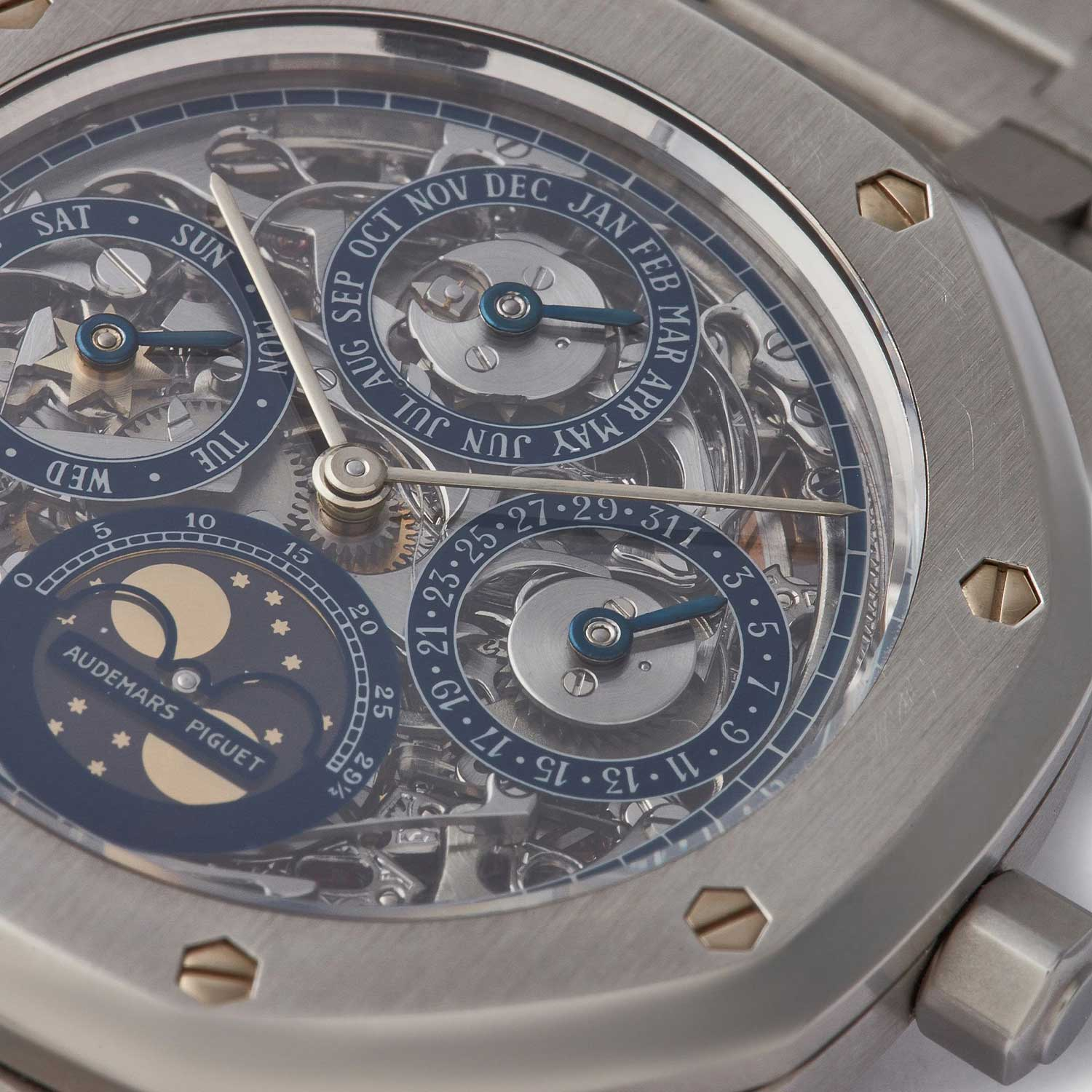 A closer look at the dial of the 25636 with Skeleton Dial, that was listed on A Collected Man some time ago; this specific example was in platinum (Image: acollectedman.com)