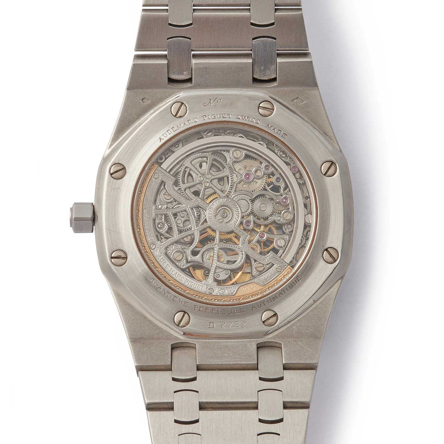 Display caseback of the 25636 with Skeleton Dial, that was listed on A Collected Man some time ago; this specific example was in platinum (Image: acollectedman.com)