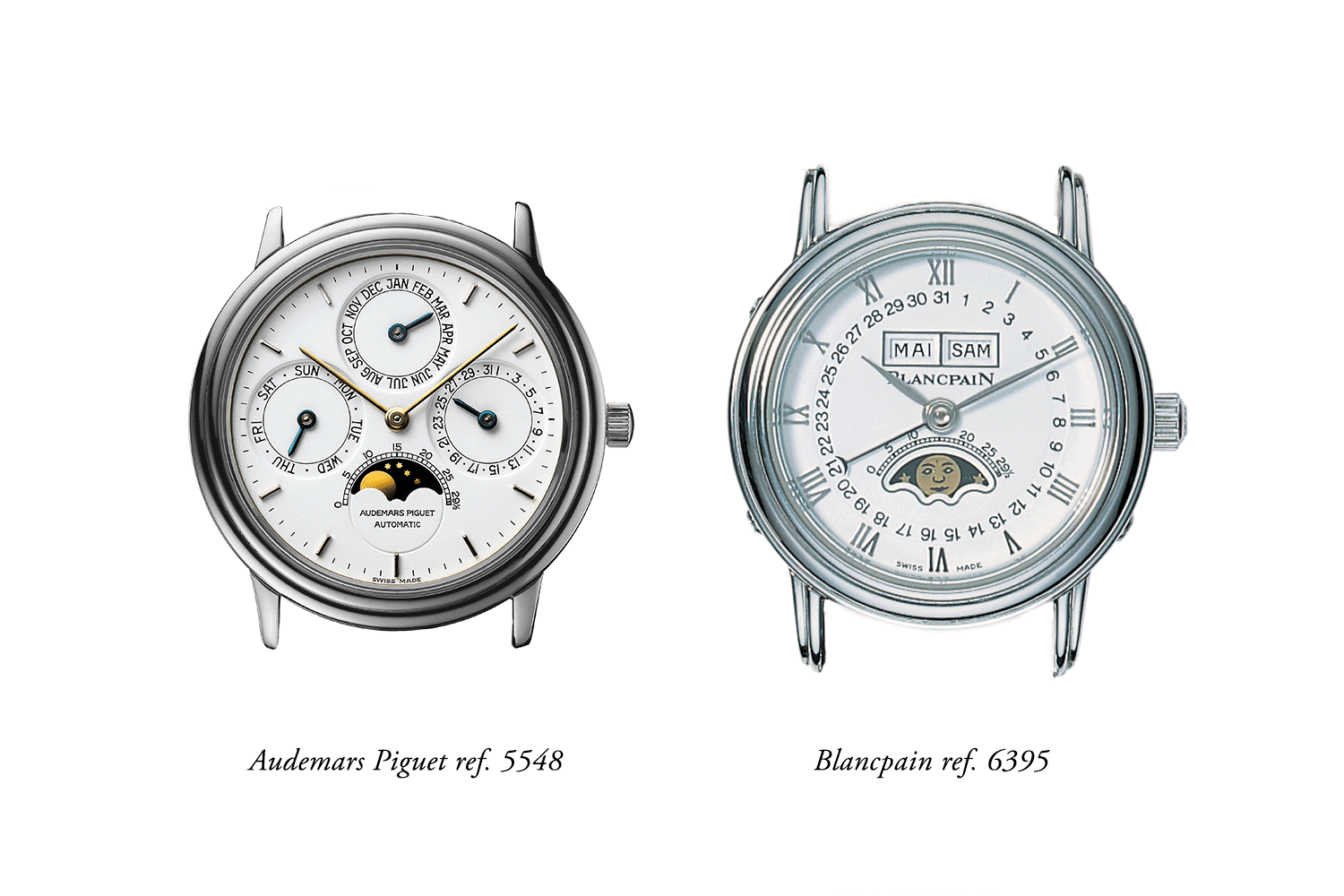 Audemars Piguet's 5548 compared to Blancpain's 6395 Complete Calendar launched in 1983. Note that Blancpain's complete calendar caliber measures 4.98mm in height vs. the AP perpetual calendar caliber which is more than 1mm thinner at 3.95mm. Blancpain would not launch a perpetual calendar until 1991.