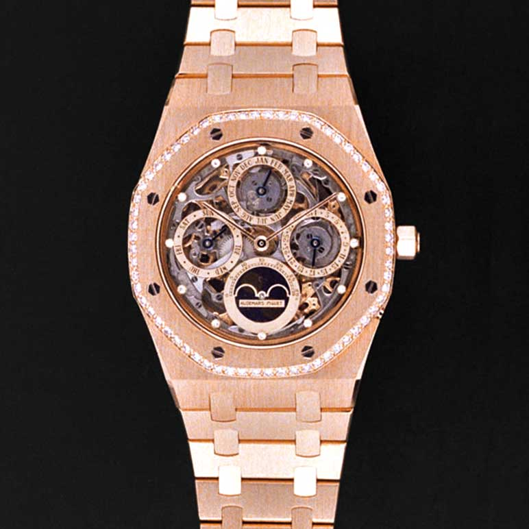 Ref. 25651BA.ZZ.0344BA.01, no-leap year perpetual calendar Royal Oak with diamonds on the edge of the octagonal bezel of the watch; Audemars Piguet Heritage Collection