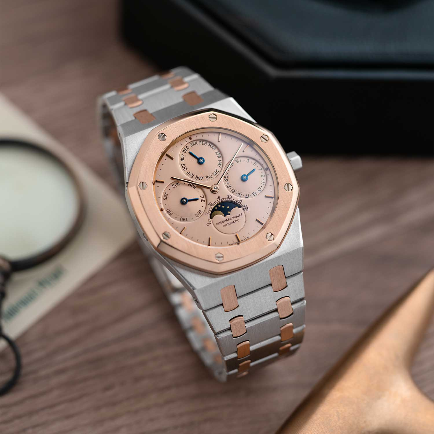 The Royal Oak Perpetual Calendar ref. 25686PR, rose gold and platinum with a rose gold dial; the watch seen here is presently part of the Pygmalion Gallery's private collection (Image: Photo and watch, property of Pygmalion Gallery)