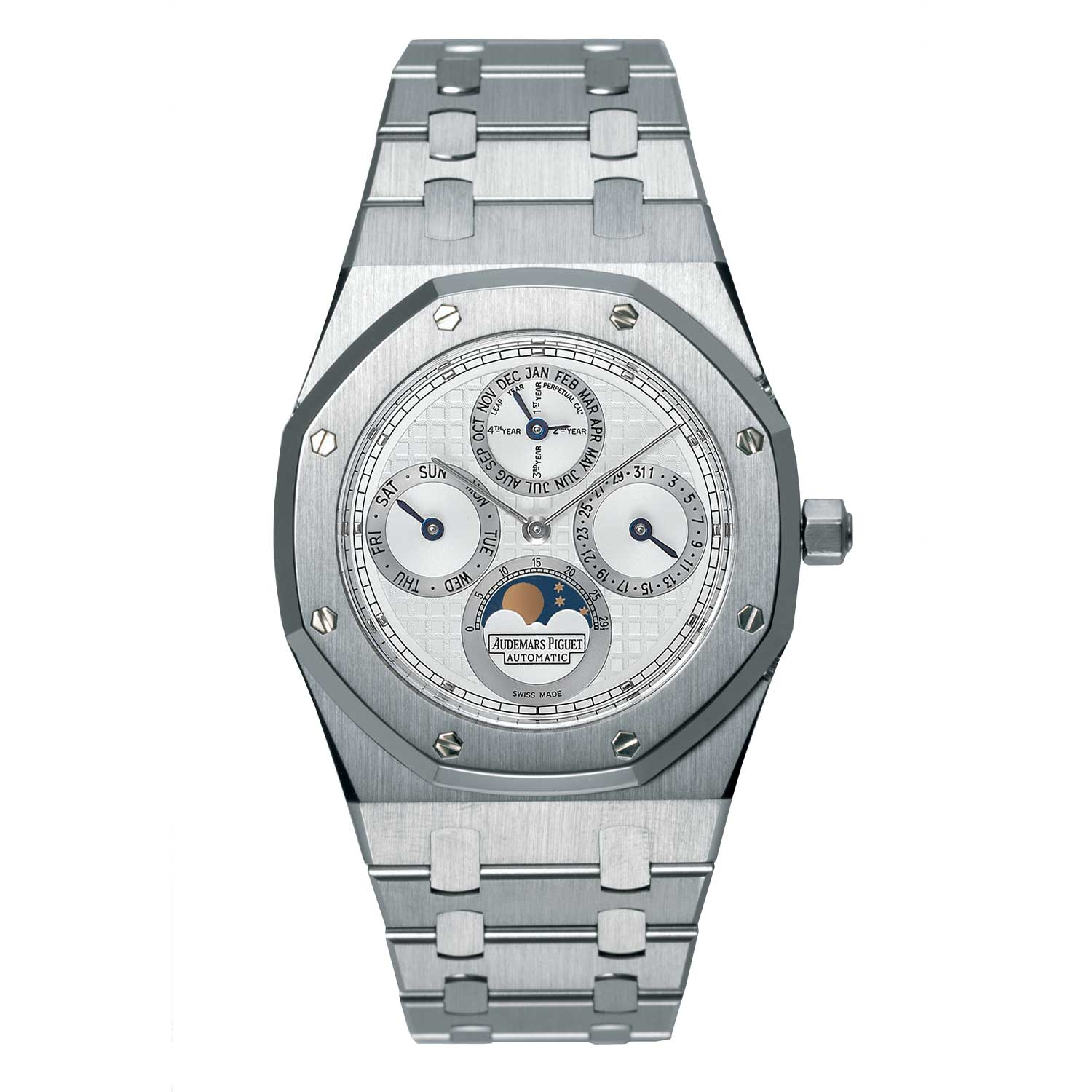 The Royal Oak Perpetual Calendar ref. 25820SP, in platinum and steel with a white dial