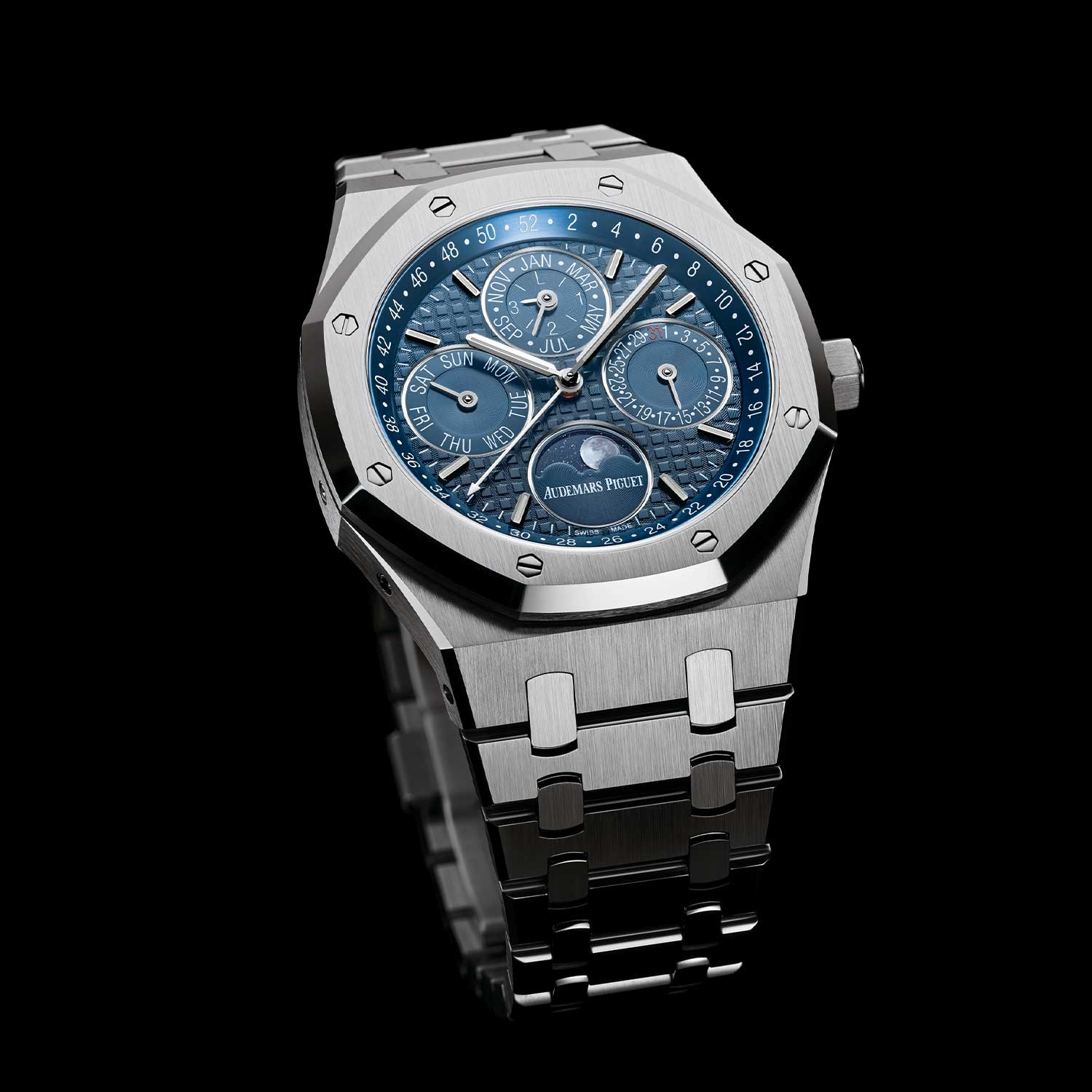The Royal Oak Perpetual Calendar ref. 26574ST in steel with a blue dial, launched in 2015