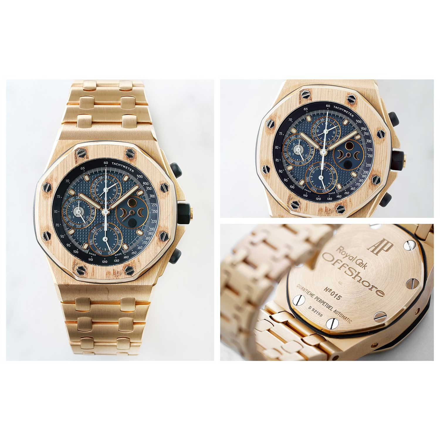 The 1999 Royal Oak Offshore Perpetual Calendar ref. 25854OR in rose gold with a blue dial (phillipswatches.com)