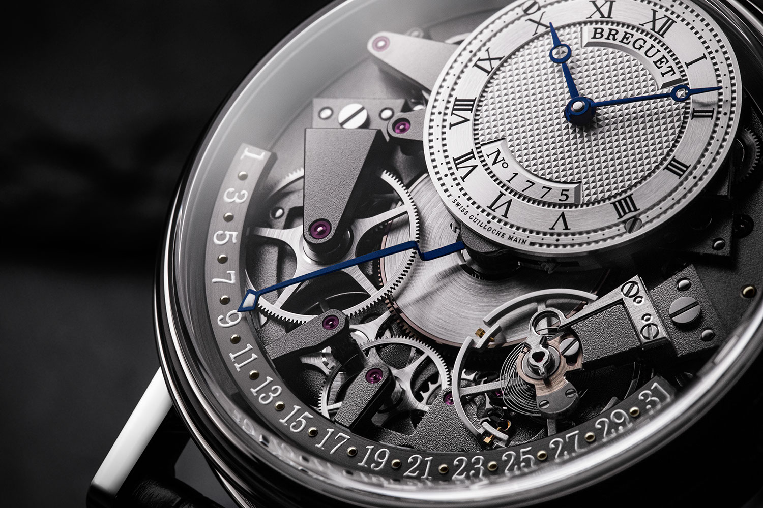 A closer look at the retrograde date on the Breguet Tradition Quantième Retrograde 7597 in white gold